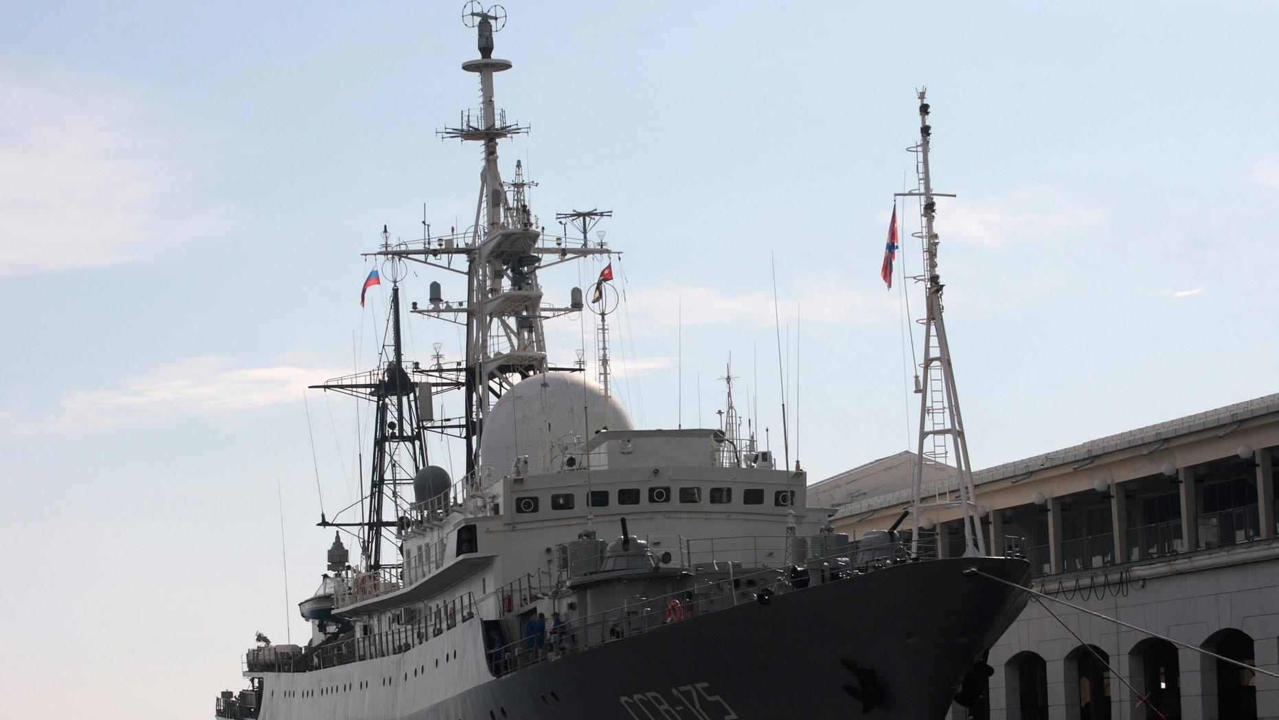 Feb. 27, 2014: A Russian spy ship Viktor Leonov SSV-175, is seen docked at a Havana port.