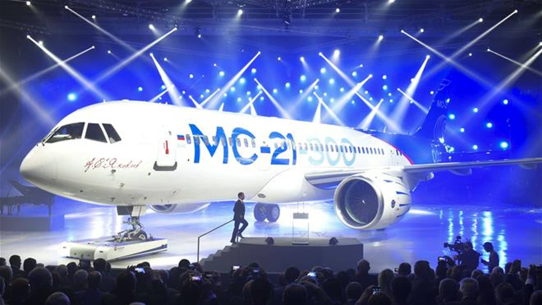 The MC-21-300 is seen in Irkutsk, Russia.