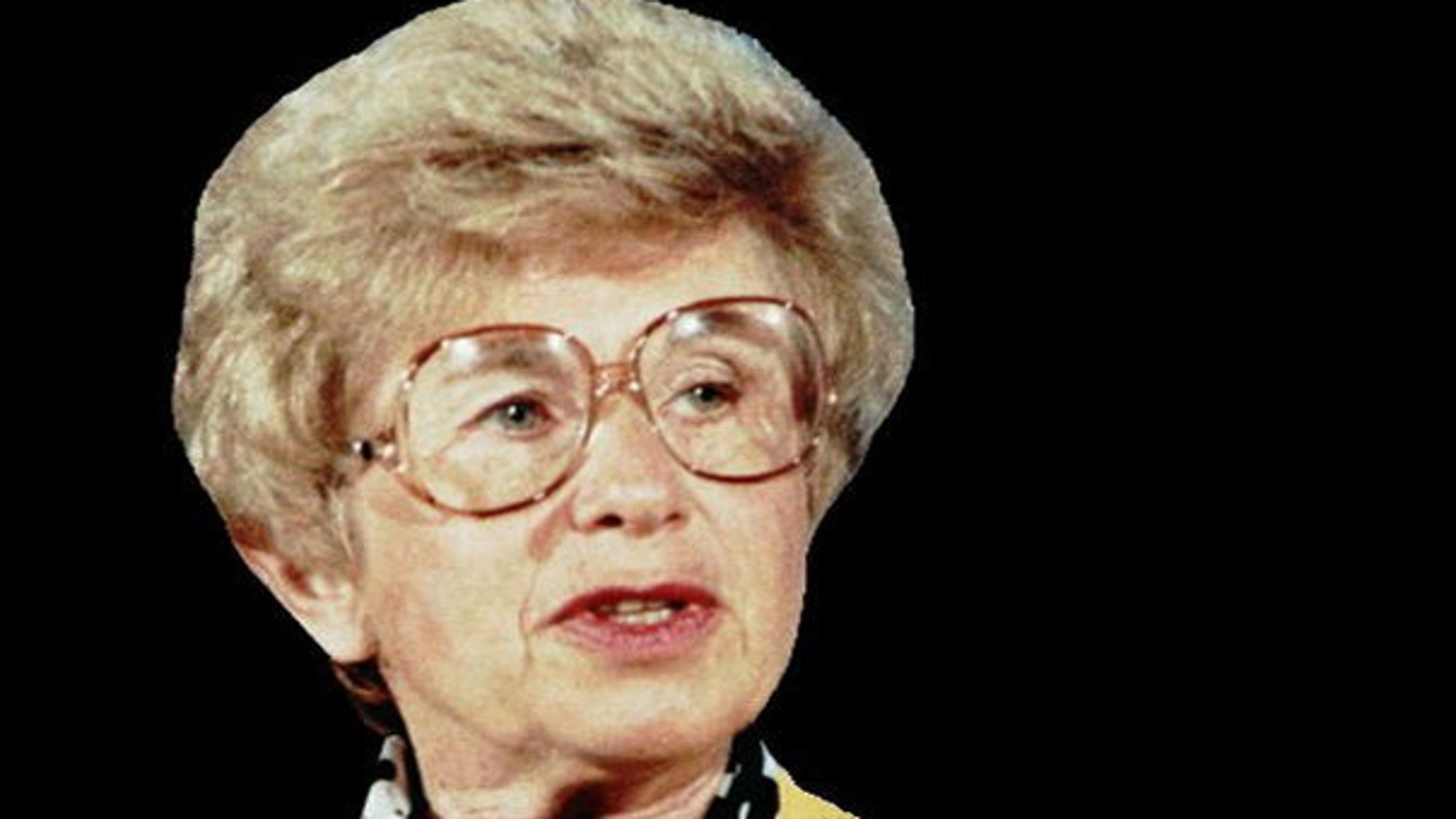 A file photo of Ruth Westheimer in a head shot as Dr. Ruth, April 9, 1986. (AP)