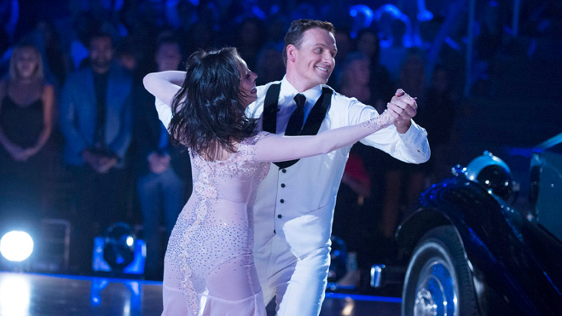 """Cheryl Burke and Ryan Lochte on """"Dancing with the Stars,"""" on Monday, Sept. 12, 2016."""