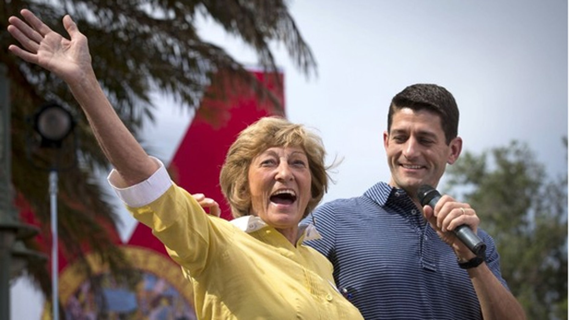 August 18, 2012: GOP vice presidential candidate Rep.Paul Ryan, Wis.,  introduces mother Betty Douglas at a campaign event at The Villages in Lady Lake, Fla.