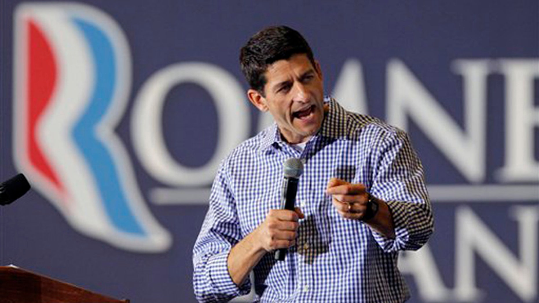 FILE: August 17, 2012: Republican vice presidential candidate Rep. Paul Ryan, R-Wis. speaks during a campaign rally at Deep Run High School in Henrico county,  Va.