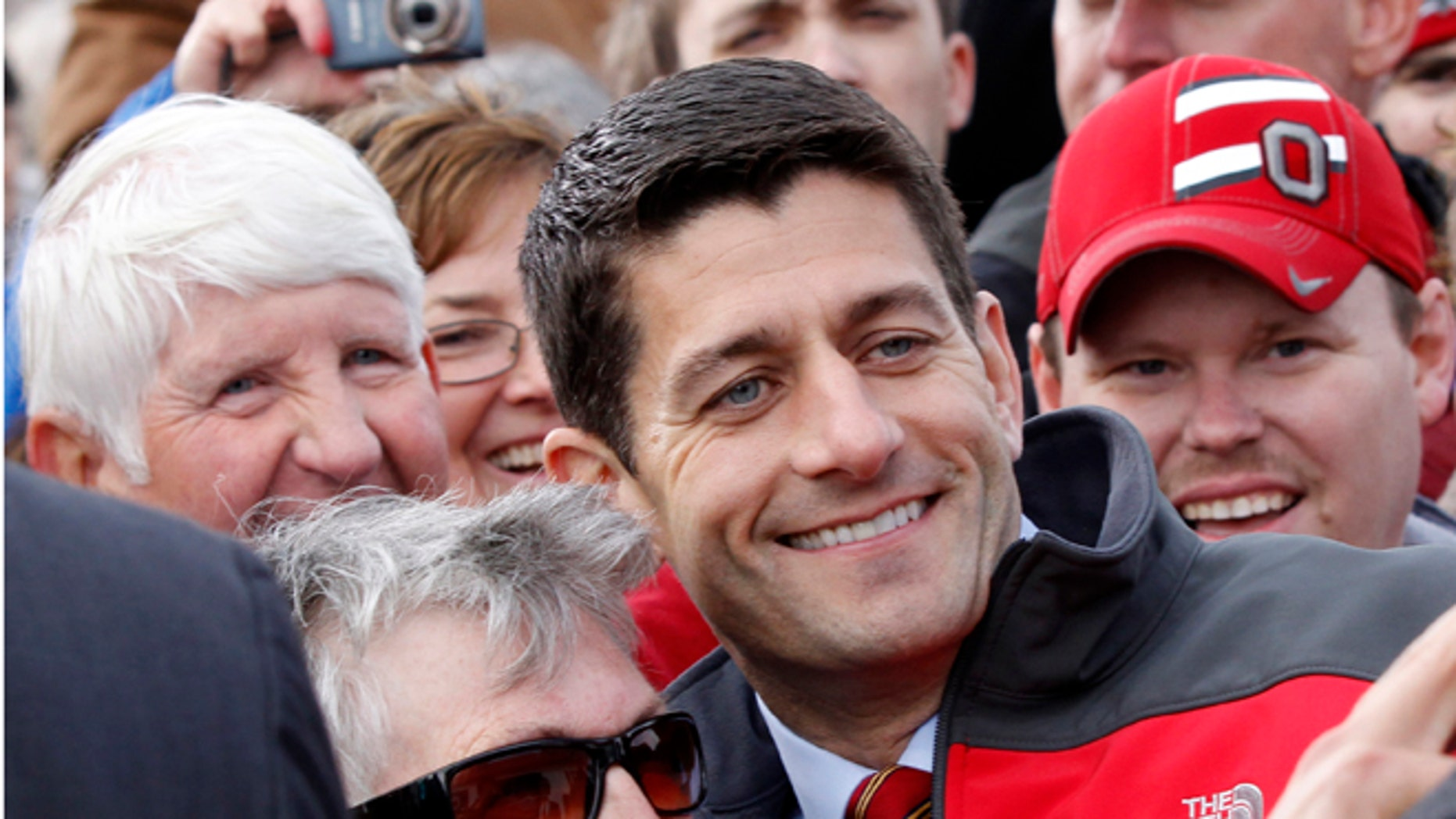 Oct. 20, 2012: Republican vice presidential candidate Rep. Paul Ryan, R-Wis. with supporters after a campaign rally at the Valley View Campgrounds in Belmont, Ohio.