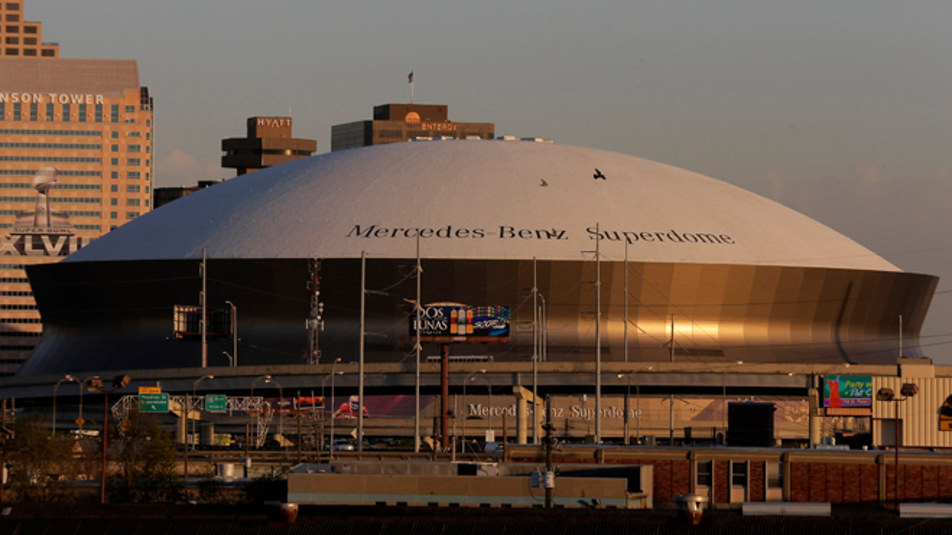 Jan. 30, 2013: The Superdome is pictured in New Orleans. A power company says the cause of the Super Bowl blackout was a faulty device that had been installed to prevent a failure of electric cables leading to the Superdome. (AP)