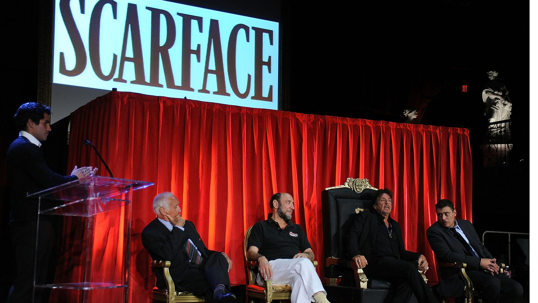 """Aug. 23, 2012:  Actors Robert Loggia, F. Murray Abraham, Al Pacino, Steven Bauera on stage at the release of """"Scarface"""" On Blu-ray at the Belasco Theatre in Los Angeles, Calif."""