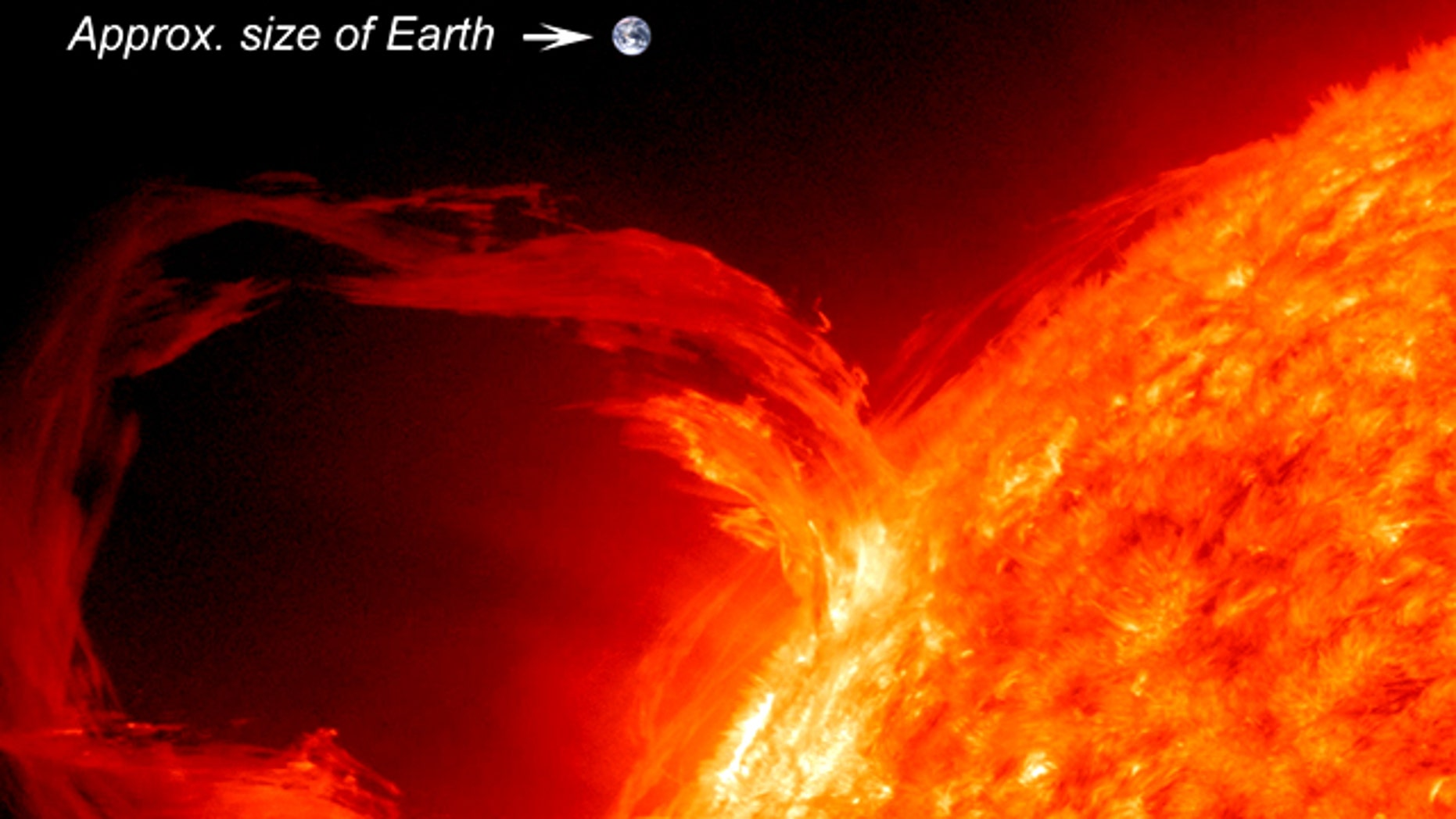 One of the first images taken by SDO and still a favorite: A solar eruptive prominence as seen in extreme UV light on March 30, 2010. The superimposed image of the Earth gives a sense of just how large these eruptions can be.