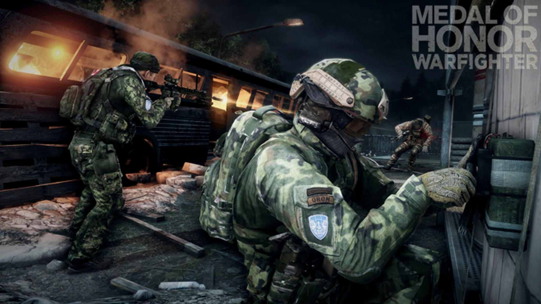 """This product image released by Electronic Arts shows action from the video game """"Medal of Honor: Warfighter."""" Seven members of the secretive Navy SEAL Team 6, including one involved in the mission to kill Usama bin Laden, have been punished for allegedly divulging classified information to the maker of the game, senior Navy officials said Thursday, Nov. 8, 2012."""
