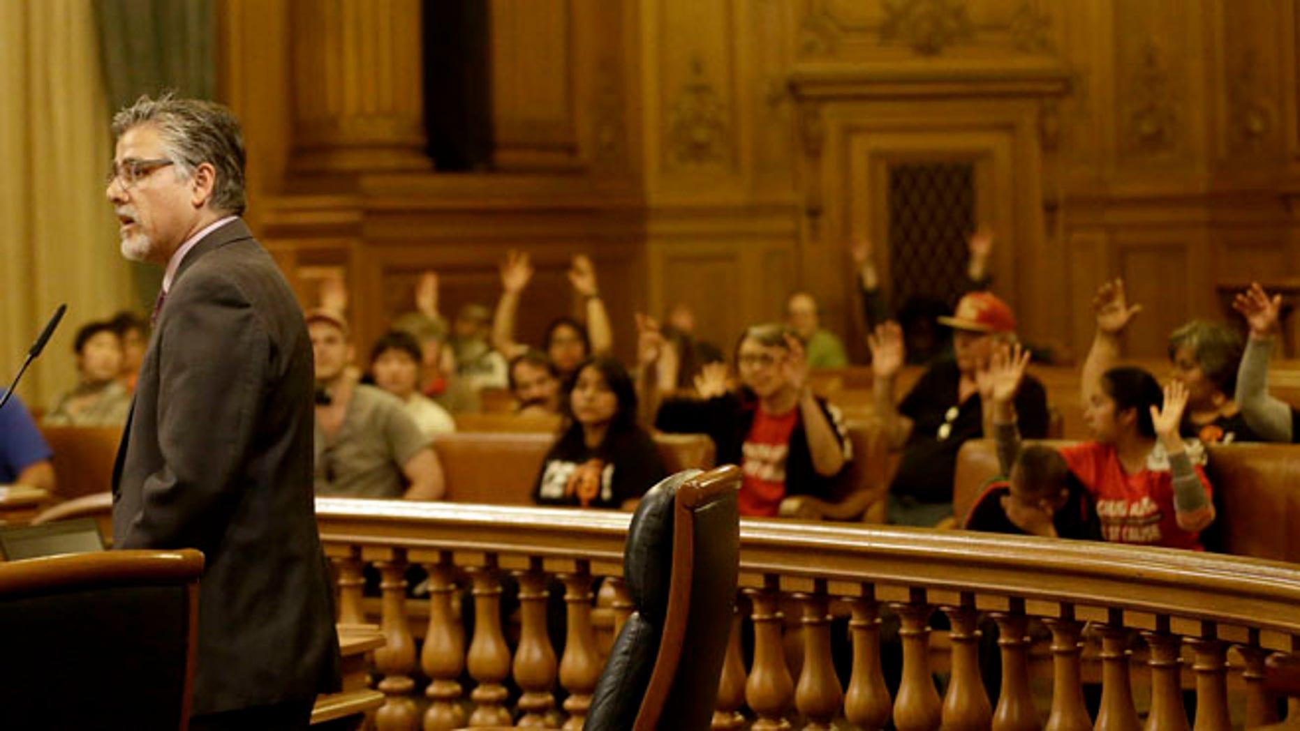 Supervisor John Avalos during a Board of Supervisors meeting at City Hall in San Francisco, May 10, 2016.