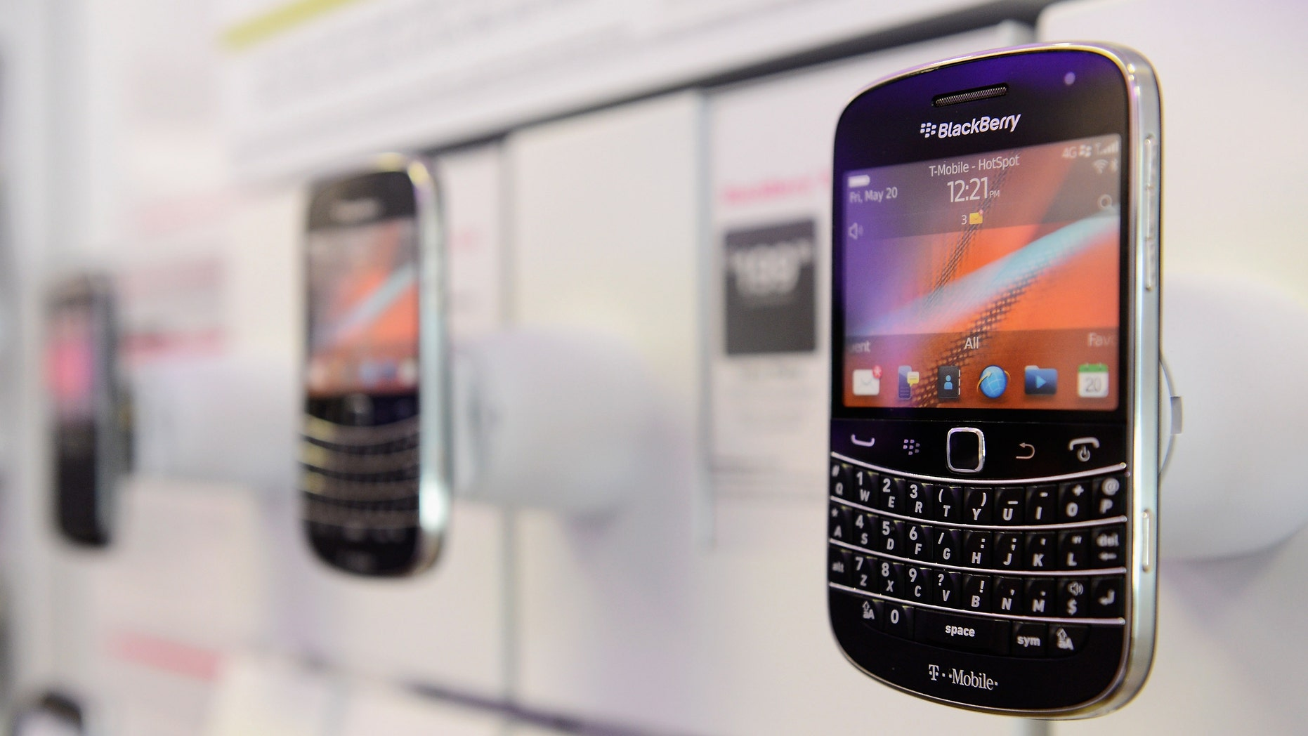 BEVERLY HILLS, CA - JUNE 28:  A Blackberry Bold 9900 4G smartphone sits on display for sale at  T-Mobile store on June 28, 2012 in Los Angeles, California.  Blackberry maker Research In Motion Ltd., will report its quarterly earnings on Thursday.  (Photo by Kevork Djansezian/Getty Images