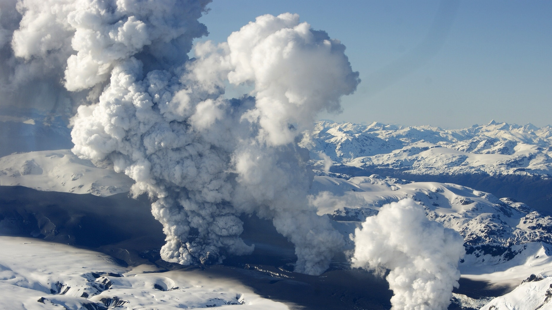 Oct. 27, 2011: Chile's Hudson Volcano released three huge columns of steam and ash that combined in a cloud more than 3 miles high.