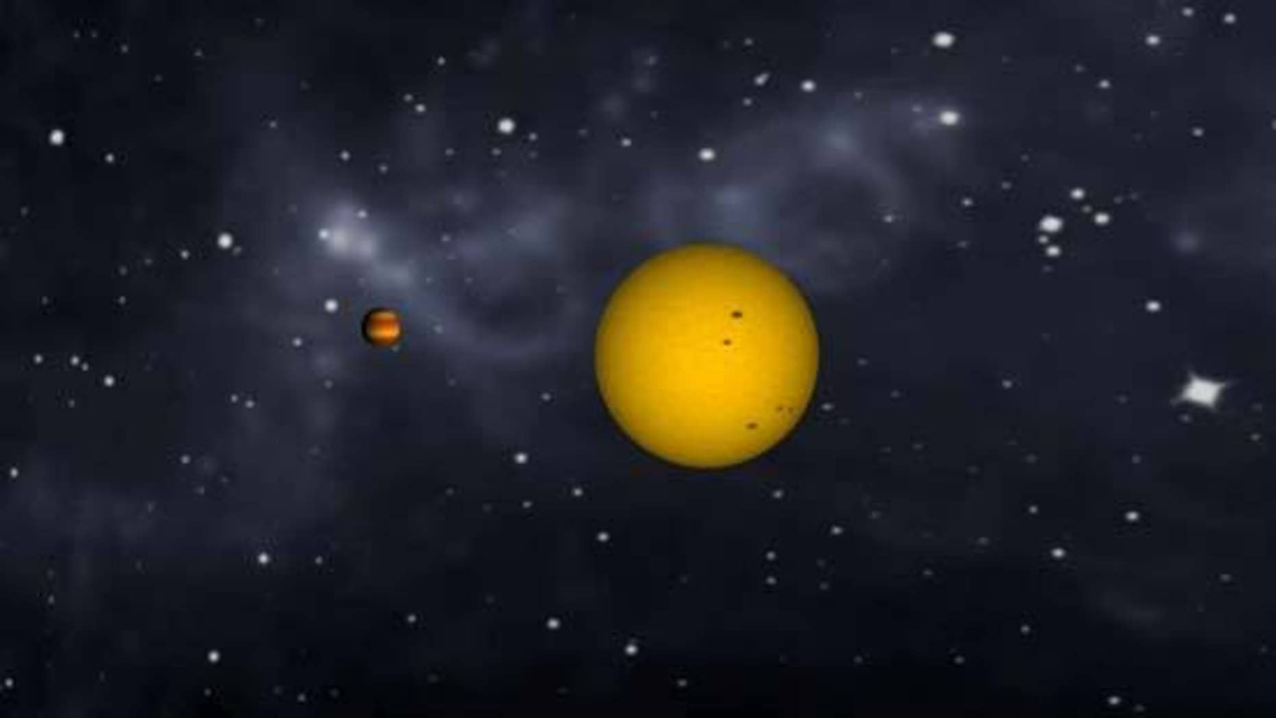Animation of tidally locked exoplanet CoRoT-1b orbiting its star and changing phases, as our moon does.