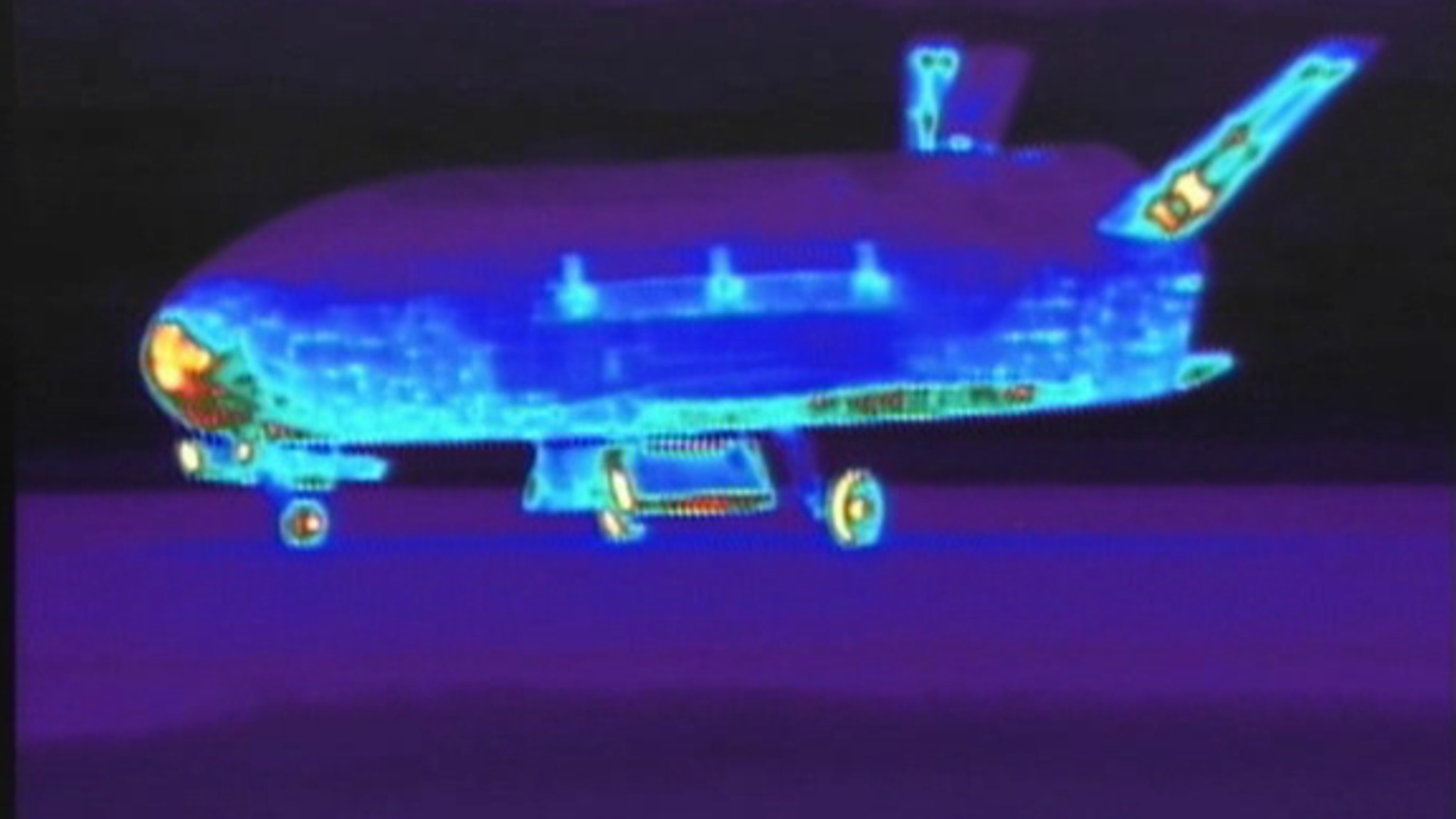 This infrared view of the U.S.'s Air Force secret X-37B space plane was taken shortly after it landed at Vandenberg Air Force base on June 16, 2012.