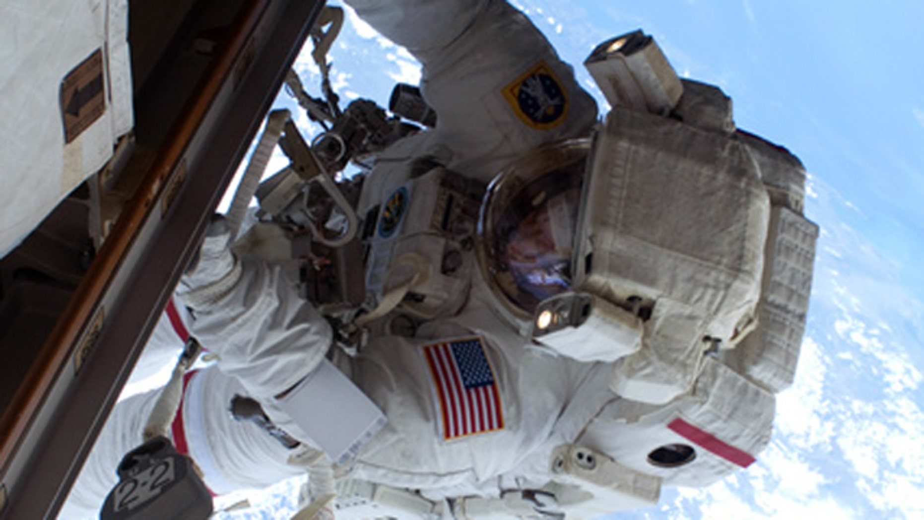 NASA astronaut Rick Mastracchio, STS-131 mission specialist, on the mission's second spacewalk as construction and maintenance continues on the International Space Station.