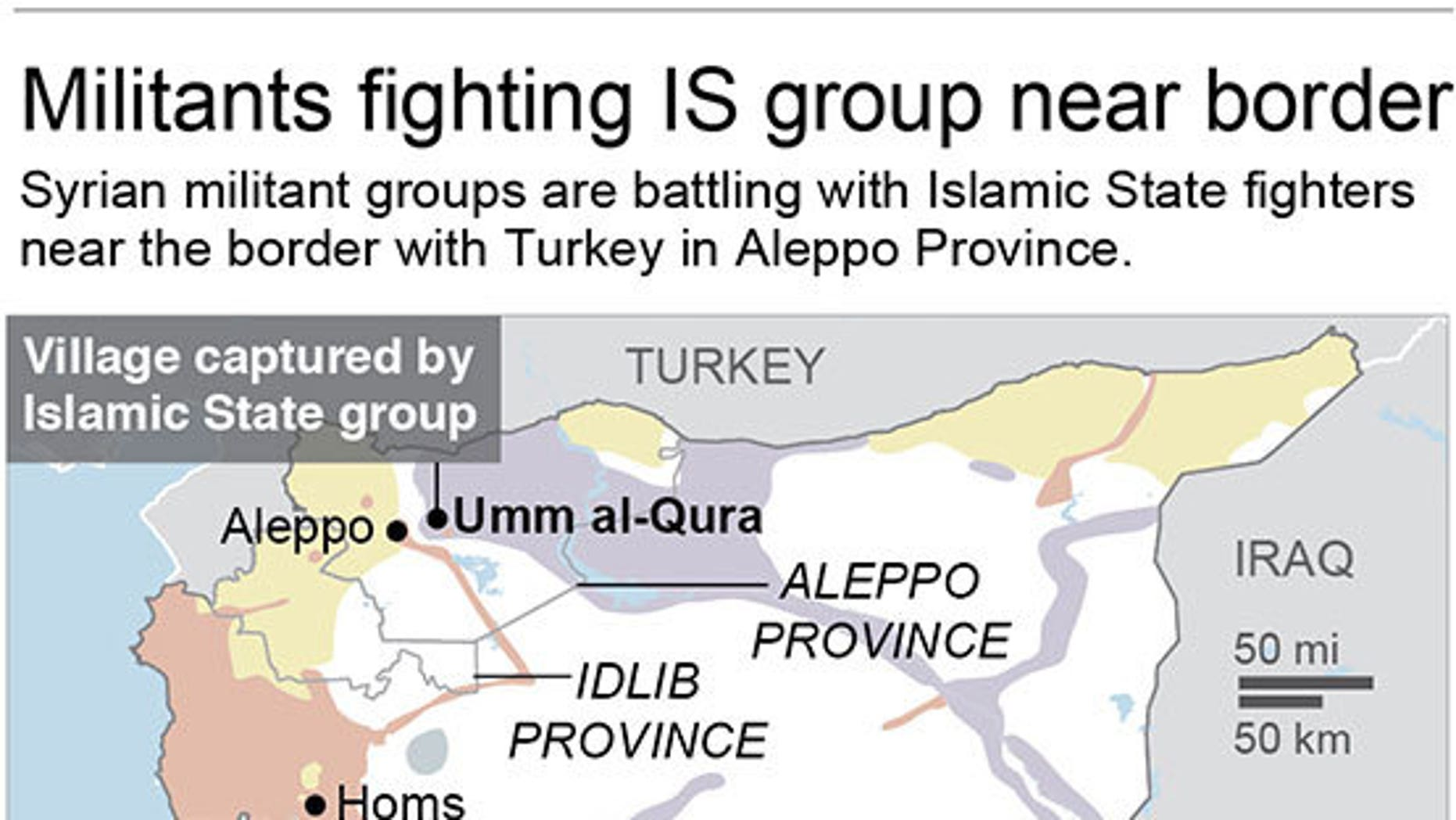 Map shows areas of control in Syria; 2c x 3 inches; 96.3 mm x 76 mm;