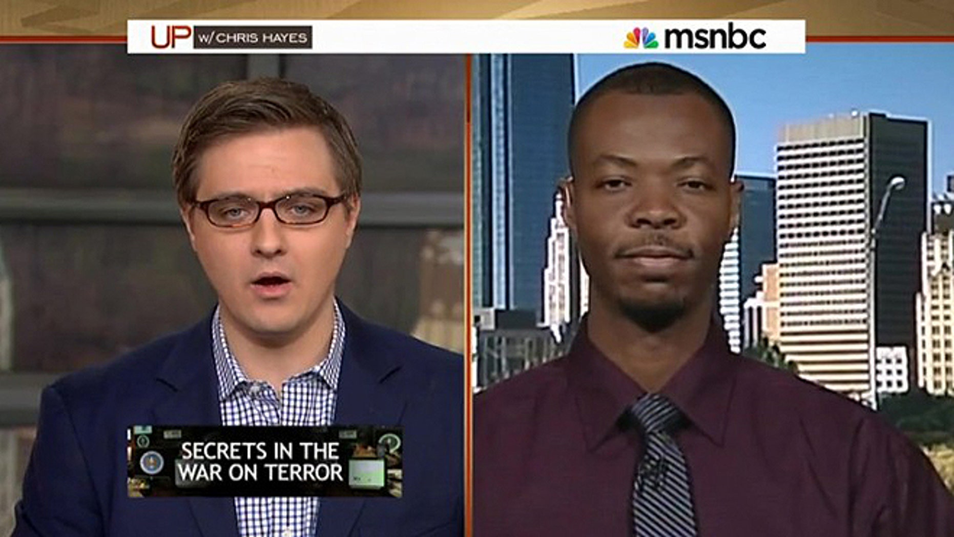 "Saadiq Long being interviewed on Chris Hayes' MSNBC show in which he recounted being place on the ""no-fly"" list back in 2013."