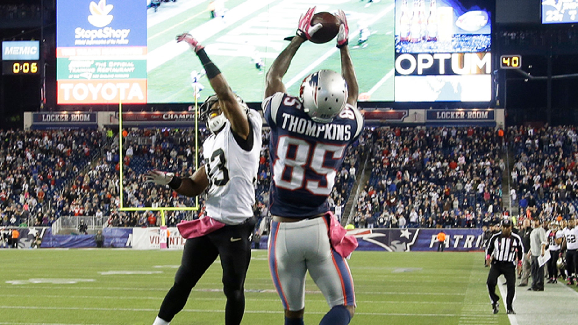 Oct.13, 2013: New England Patriots wide receiver Kenbrell Thompkins (85) catches the winning touchdown pass against New Orleans Saints cornerback Jabari Greer (33) in the fourth quarter in Foxborough, Mass. The Patriots won 30-27.