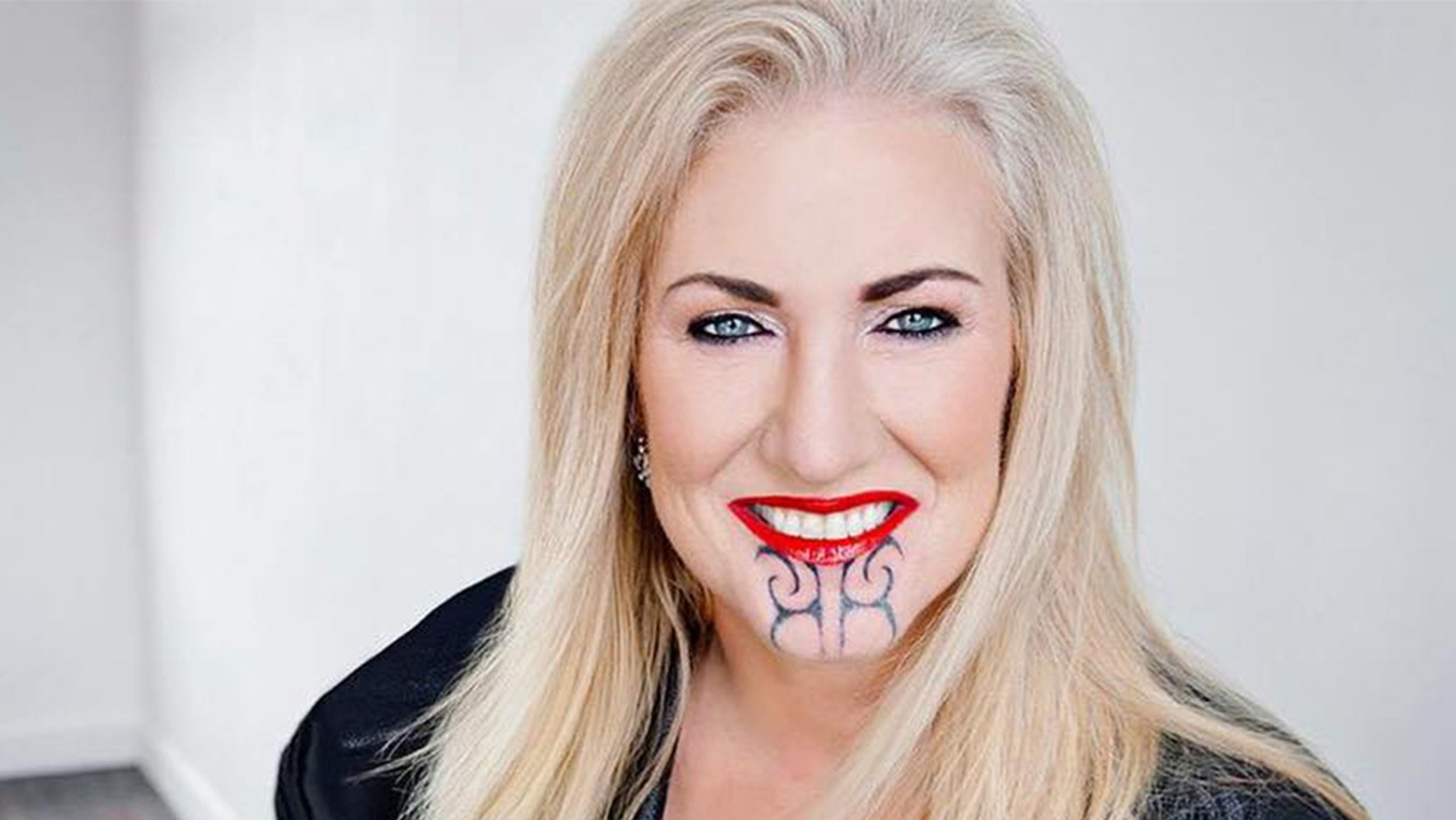 Sally Anderson's controversial chin tattoo is sparking debate in New Zealand.