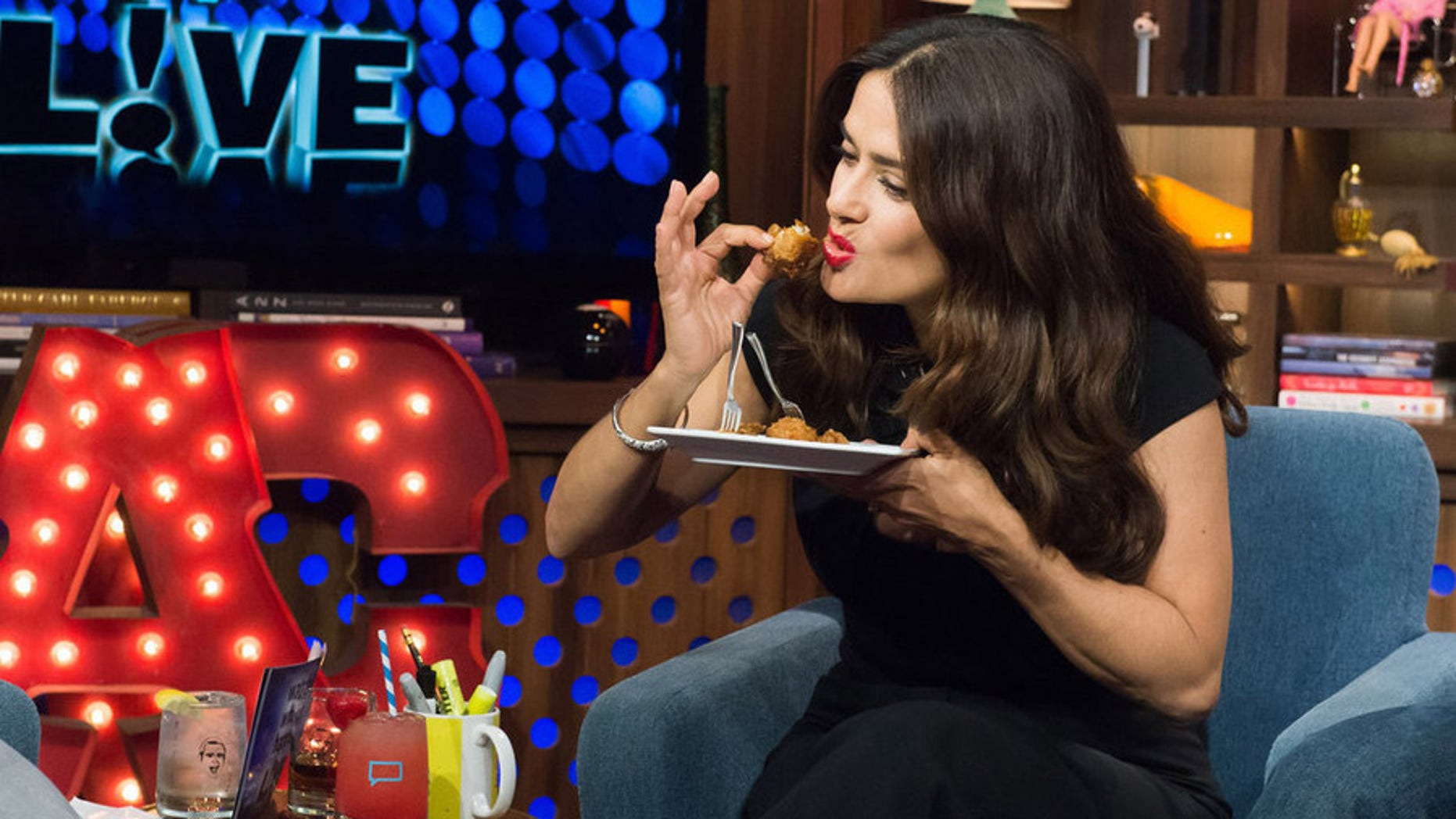 WATCH WHAT HAPPENS LIVE -- Episode 12135 -- Pictured: Salma Hayek -- (Photo by: Charles Sykes/BravoBravo)