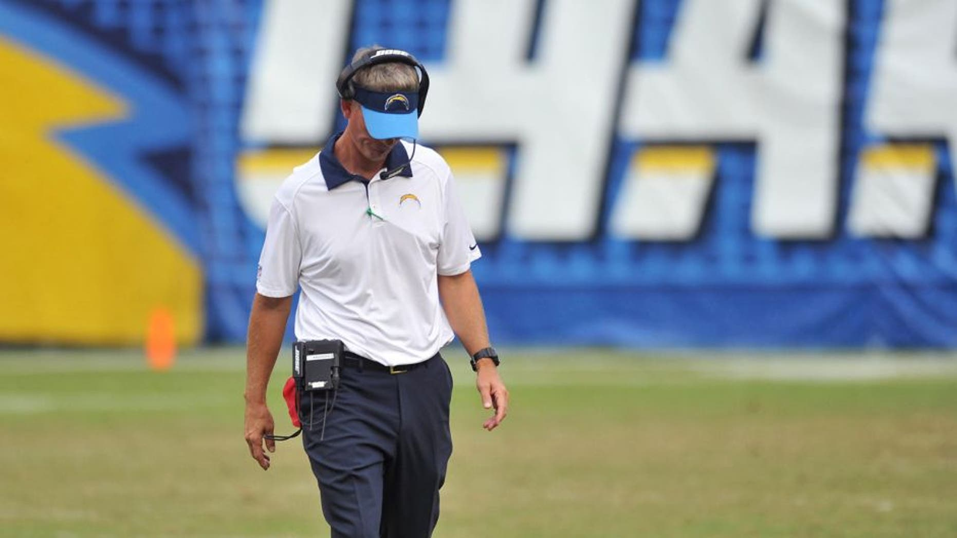 Oct 25, 2015; San Diego, CA, USA; San Diego Chargers head coach Mike McCoy reacts during a break in play during the second half of the game against the Oakland Raiders at Qualcomm Stadium. Oakland won 37-29. Mandatory Credit: Orlando Ramirez-USA TODAY Sports