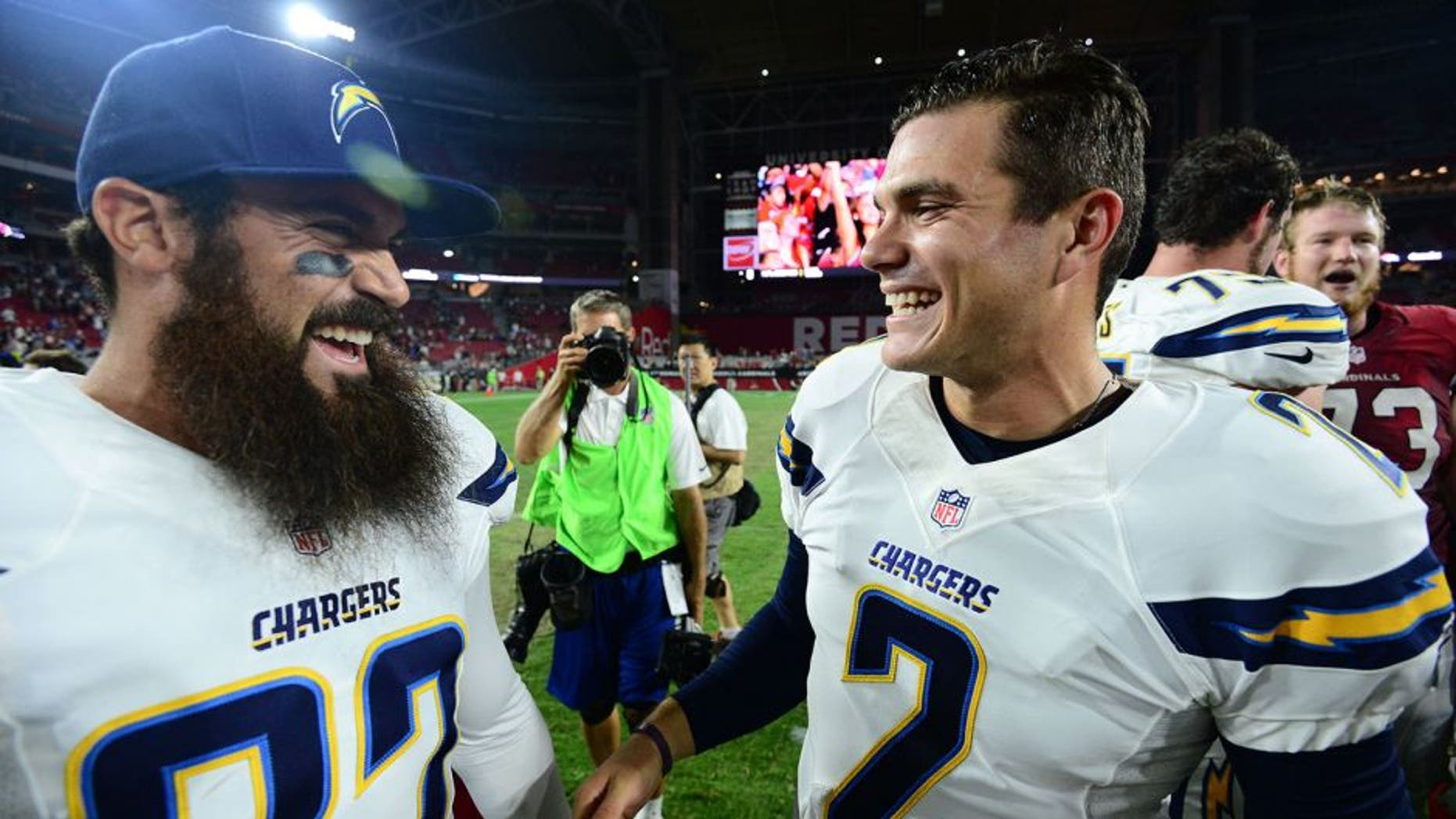 Aug 22, 2015; Glendale, AZ, USA; San Diego Chargers kicker Josh Lambo (2) celebrates with teammates after kicking a game winning field goal against the Arizona Cardinals during the second half at University of Phoenix Stadium. The Chargers won 22-19. Mandatory Credit: Joe Camporeale-USA TODAY Sports