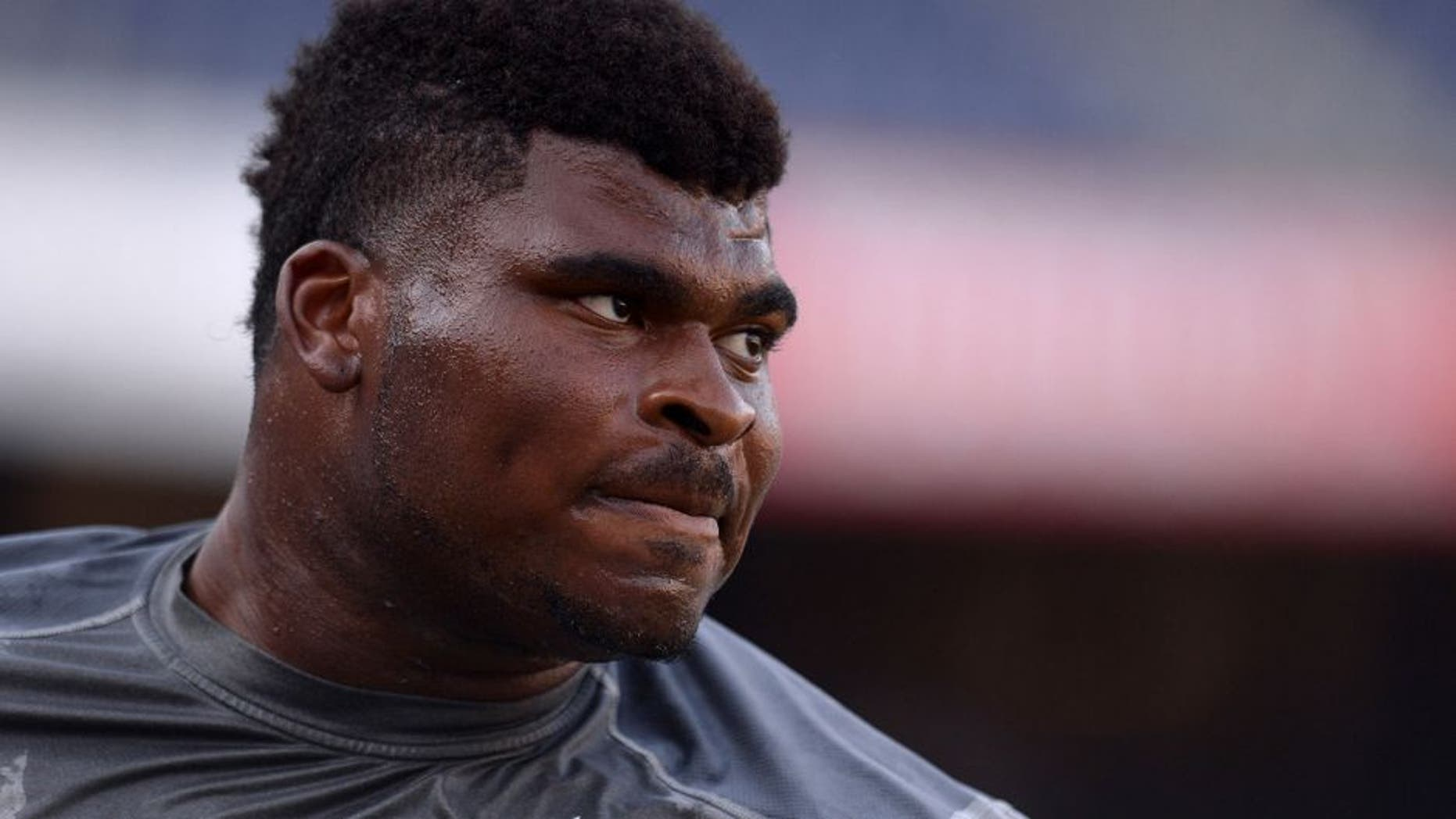 Aug 13, 2015; San Diego, CA, USA; San Diego Chargers tackle D.J. Fluker (76) looks on before the preseason game against the Dallas Cowboys at Qualcomm Stadium. Mandatory Credit: Jake Roth-USA TODAY Sports