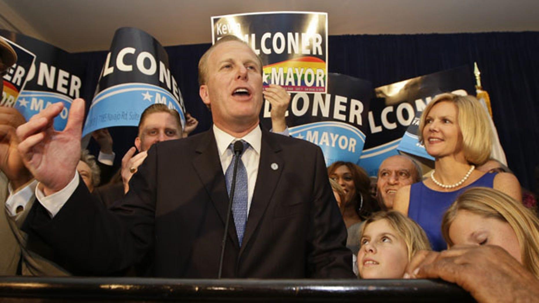 February 11, 2014: San Diego mayoral candidate Kevin Faulconer addresses supporters. (AP Photo/Lenny Ignelzi)