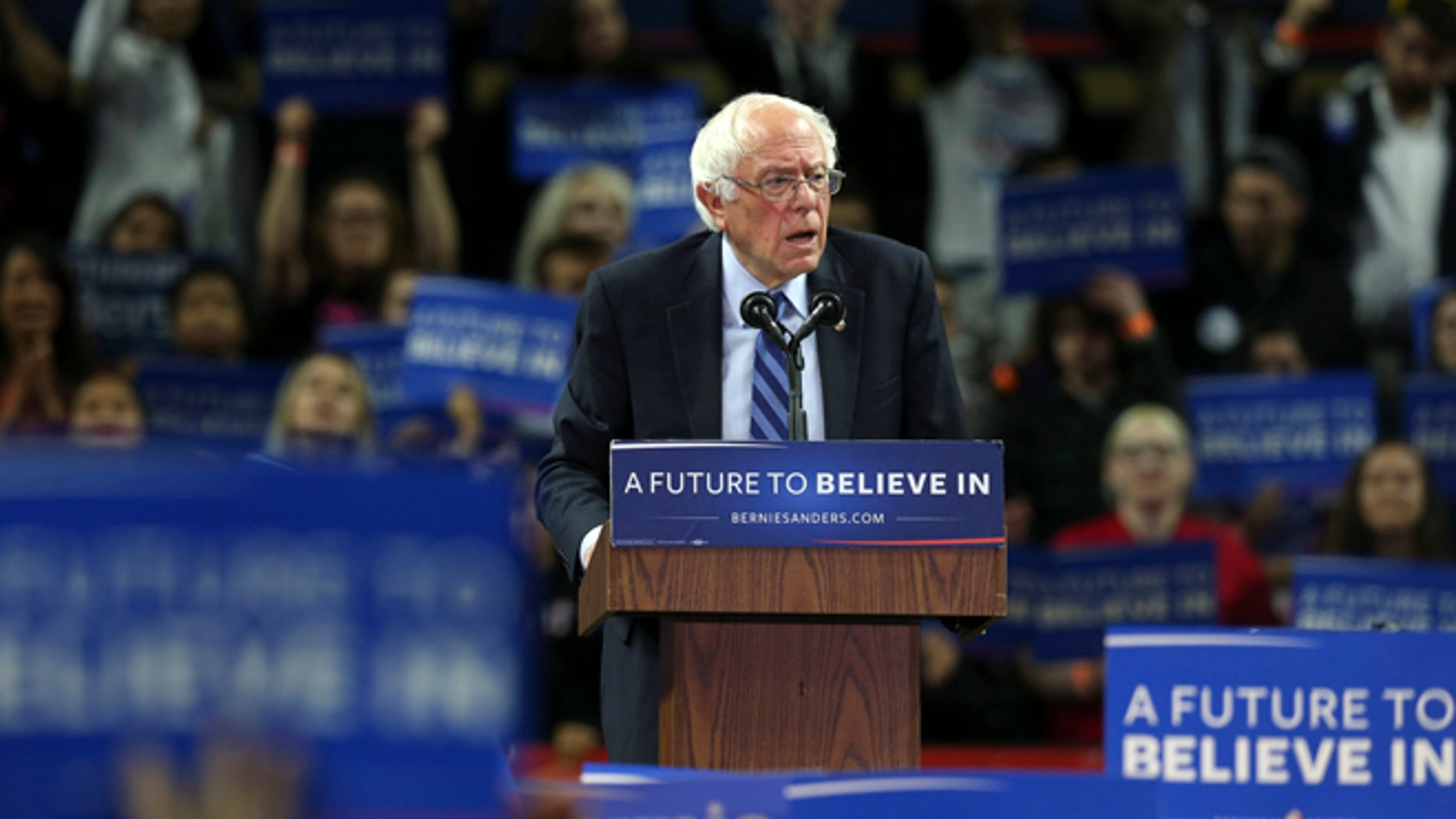 Presidential candidate Sen. Bernie Sanders at a campaign rally in Piscataway, N.J.  on May 8, 2016.