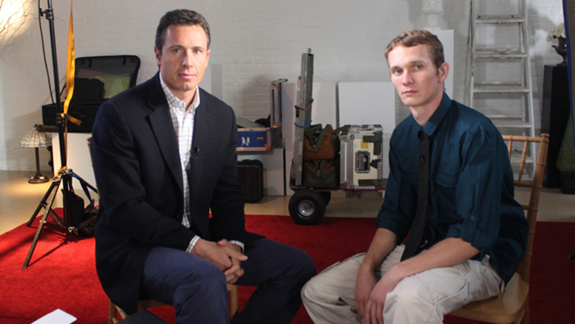 """This undated image released by ABC shows ABC News' Chris Cuomo, left, with Aaron Fisher, 18, a victim of former Penn State assistant football coach Jerry Sandusky during an interview airing Friday, Oct. 19, 2012 on the news magazine show """"20/20,"""" at 10 p.m. EST on ABC."""