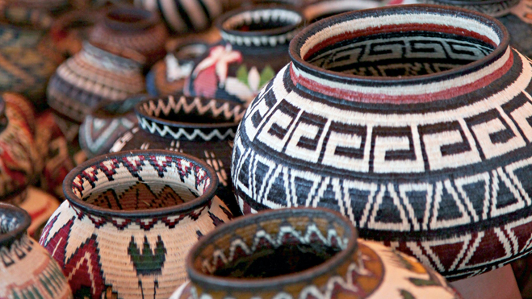 This undated image, provided by the International Folk Art Market, shows handwoven baskets from the Wounaan National Congress in Panama at the International Folk Art Market in Santa Fe, N.M. This year's annual market begins July 10, 2015. (Stephanie Mendez/ International Folk Art Market via AP)