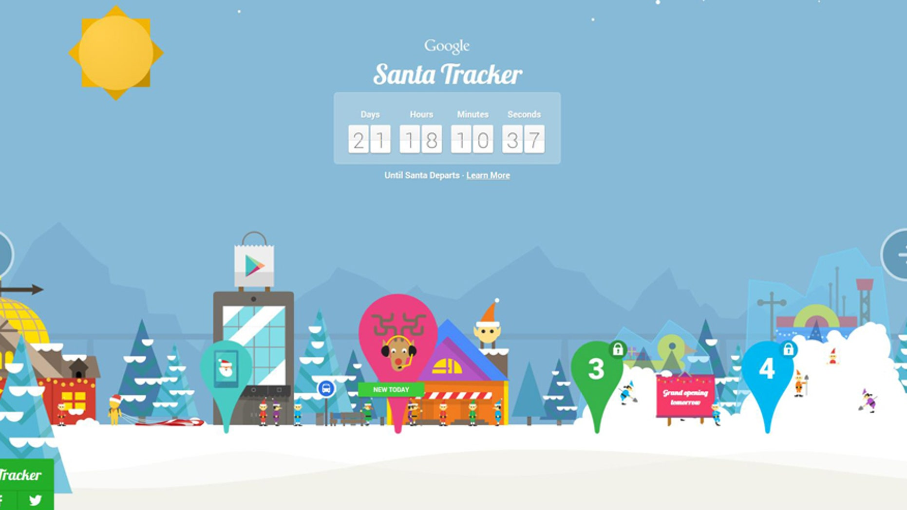 Screenshot of Google Santa Tracker