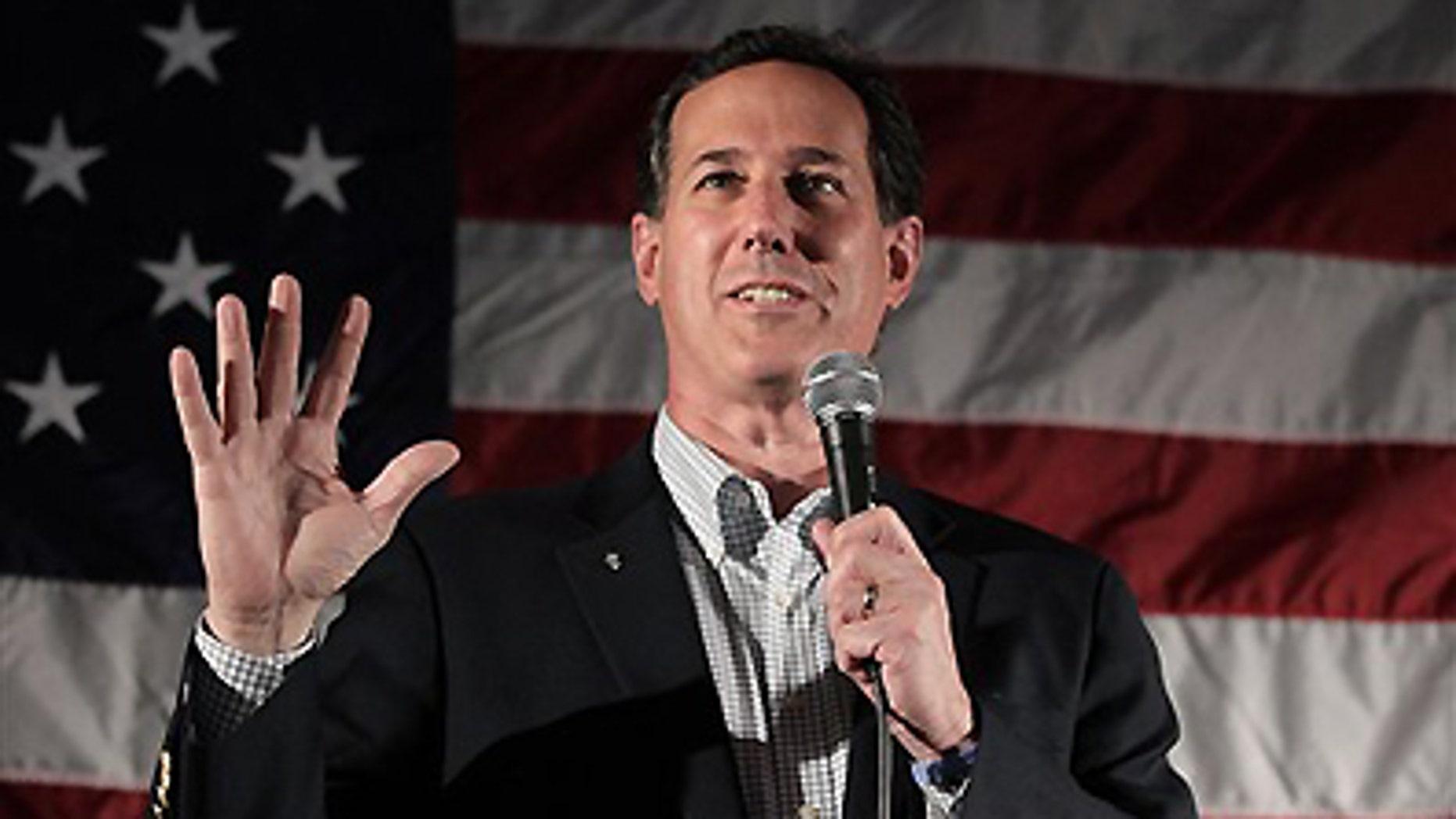 April 2, 2012: Republican presidential candidate, former Pennsylvania Sen. Rick Santorum speaks in Menasha, Wis.