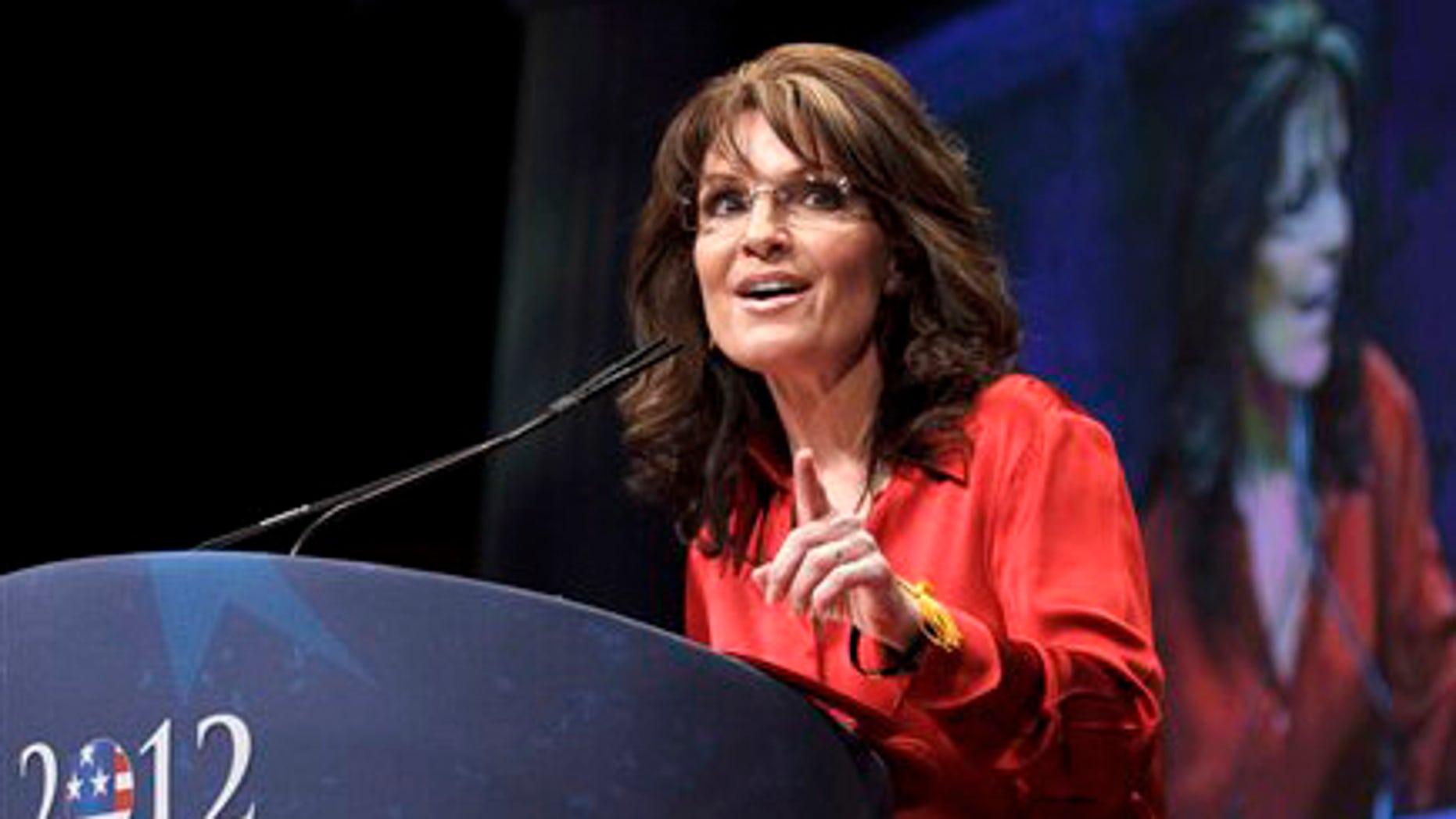 FILE: Feb. 11, 2012:  Former Alaska Gov. and 2008 GOP vice presidential candidate Sarah Palin speaks in Washington, D.C.