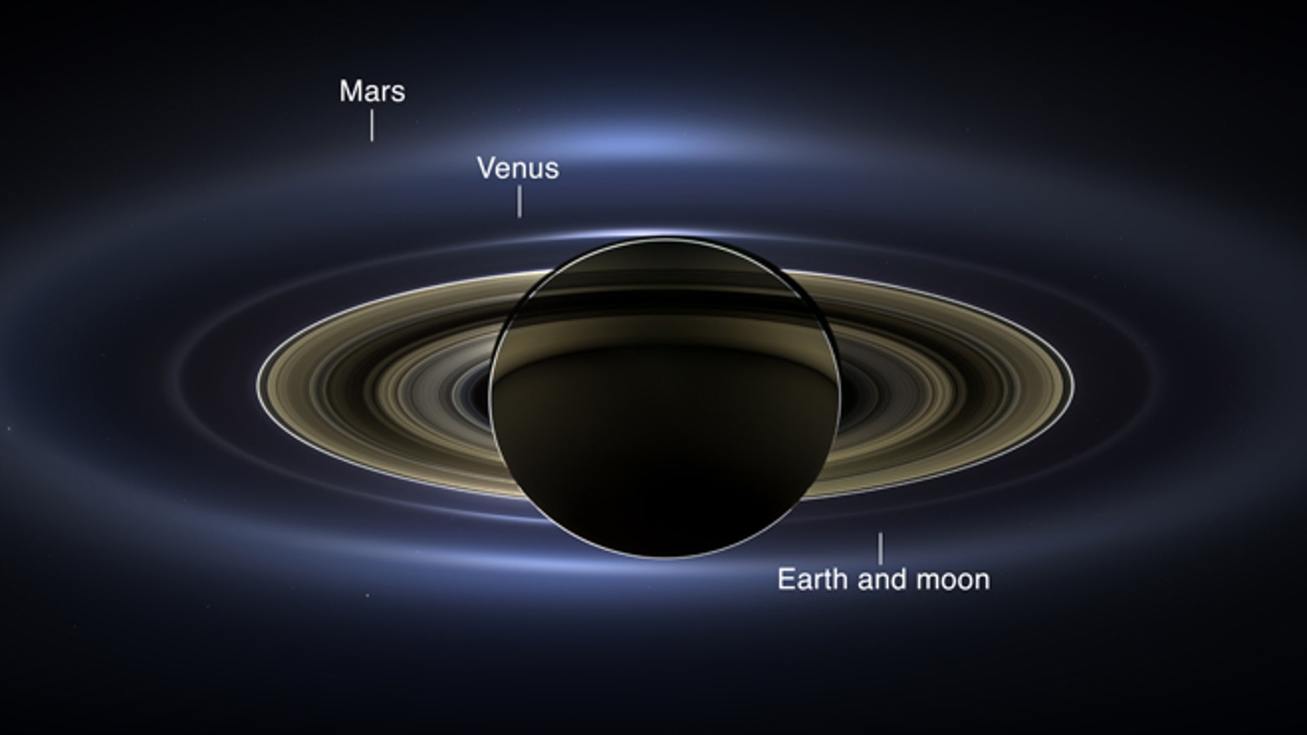 July 19, 2013: NASA's Cassini spacecraft slipped into Saturn's shadow and turned to image the planet, seven of its moons, its inner rings -- and, in the background, our home planet, Earth.