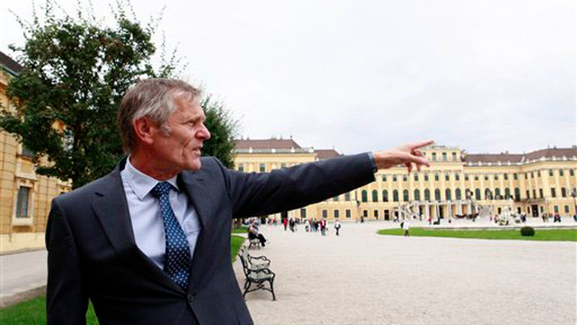 In this photo on Thursday, Sept. 9, 2010 Franz Sattlecker, who oversees apartment rentals at Schoenbrunn, the UNESCO world heritage site that members of the royal Habsburg dynasty once called home when they ruled the Austro-Hungarian Empire, speaks during an interview with the Associated Press in front of Schoenbrunn palace in Vienna, Austria. In Austria, unlike in most other European countries, several state-owned former imperial properties aren't just museums. They're now homes for ordinary citizens.