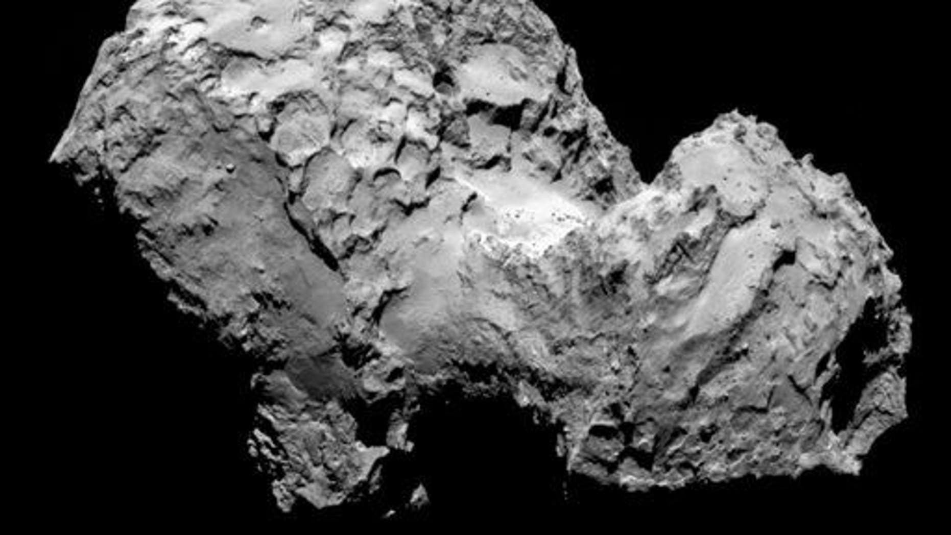 In this picture taken on Aug. 3, 2014, by Rosetta���s OSIRIS narrow-angle camera, Comet 67P/Churyumov-Gerasimenko is pictured.