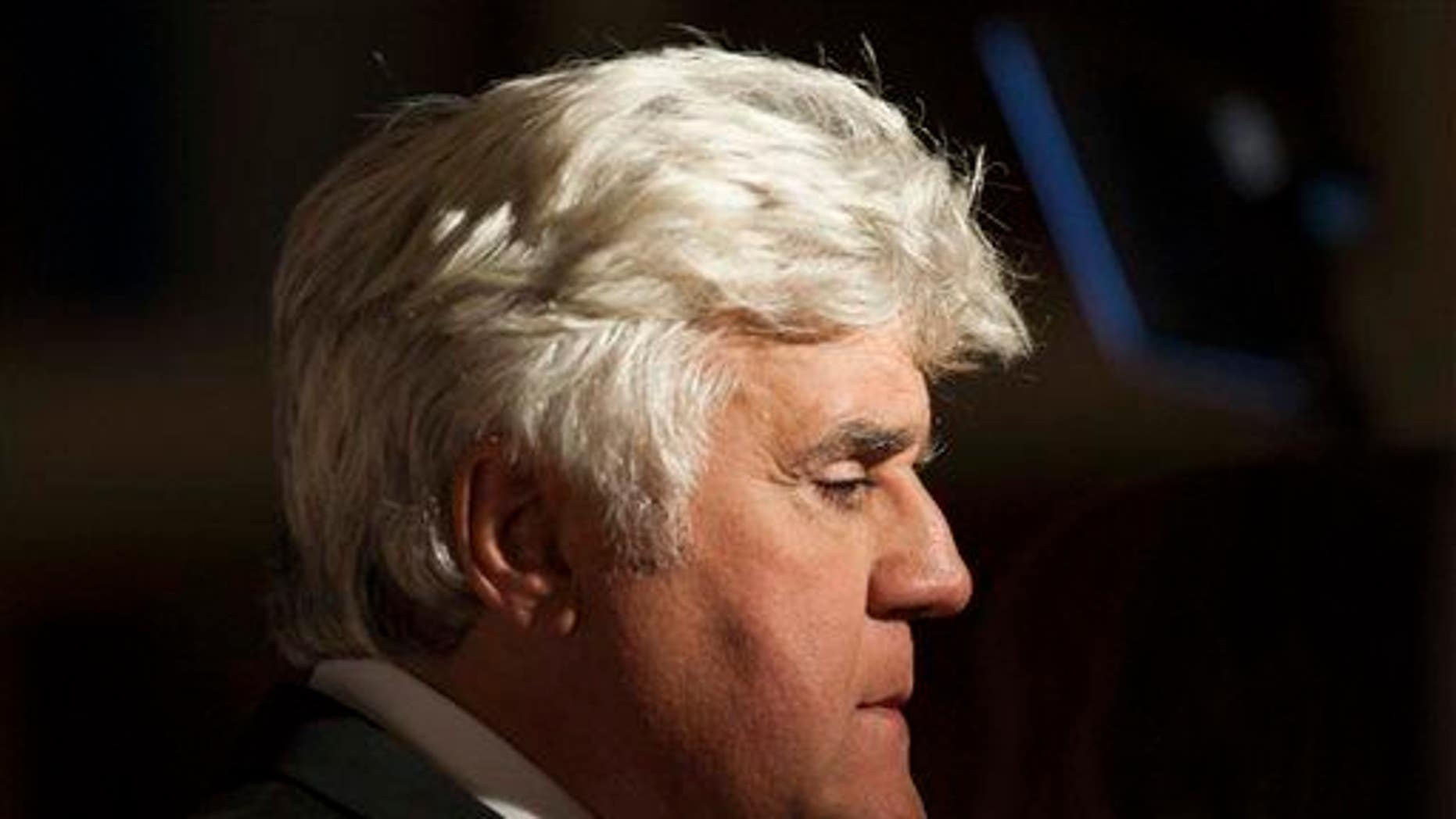 Jay Leno is interview on the red carpet as he arrives at the Kennedy Center for the Performing Arts for the Mark Twain Prize for American Humor on Sunday, Oct. 19, 2014.