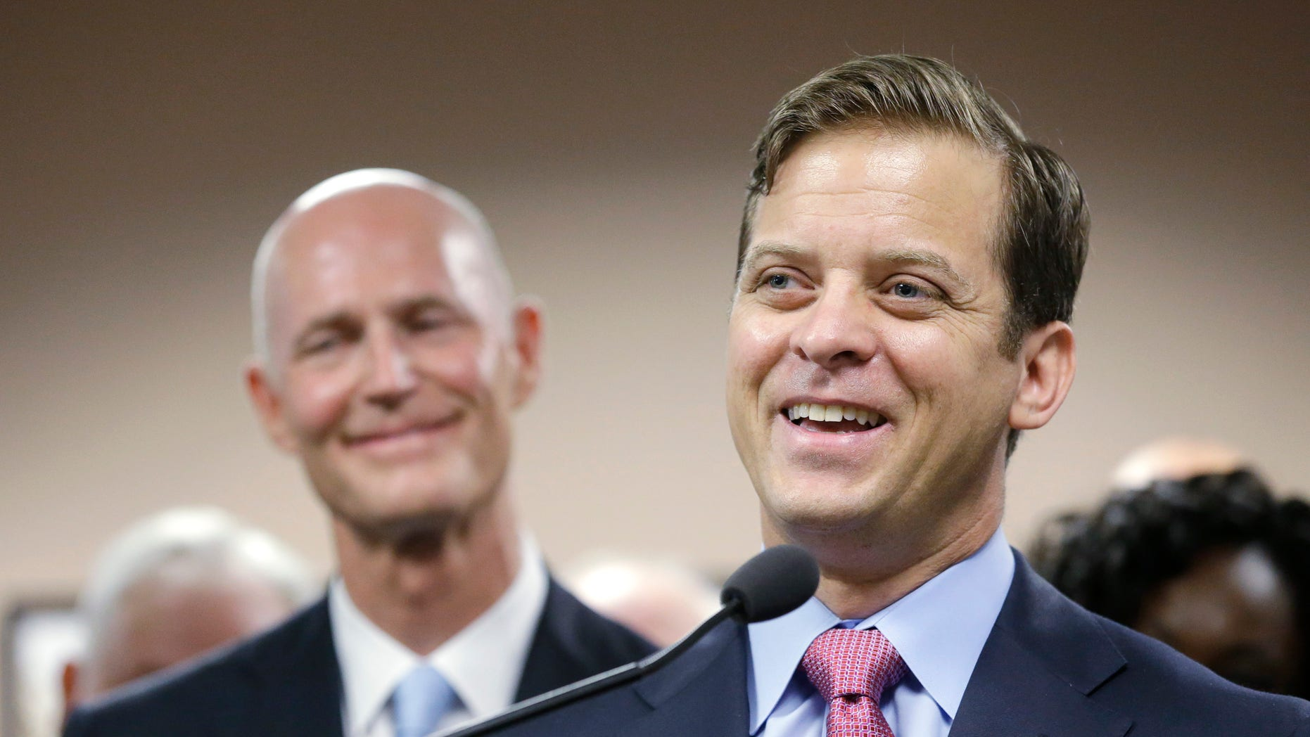 Carlos Lopez-Cantera during a news conference Tuesday, Jan. 14, 2014 in Miami.