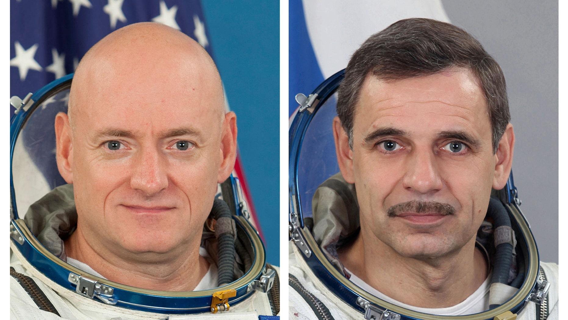 FILE - This combination of photos provided by the Gagarin Cosmonaut Training Center via NASA, shows NASA astronaut Scott Kelly, left, and Russian cosmonaut Mikhail Kornienko.