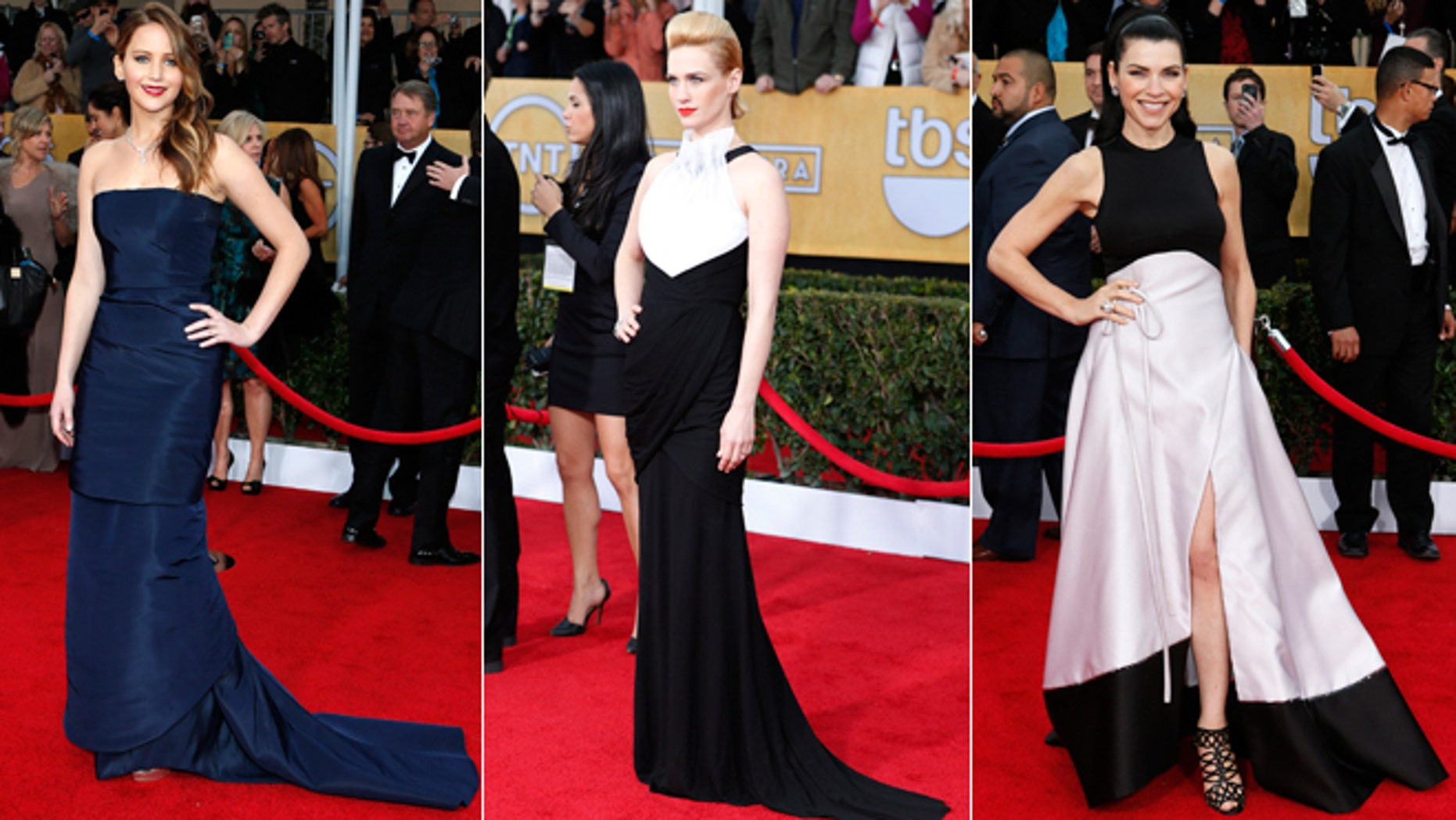 Jennifer Lawrence, left, January Jones, center, and Julianna Margulies attend the Screen Actors Guild Awards.