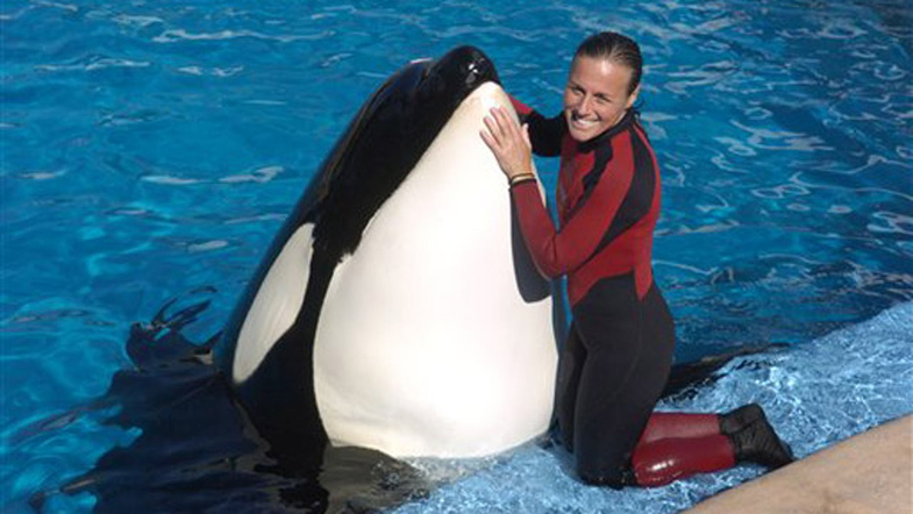In this 2005 photo, Dawn Brancheau, a whale trainer at SeaWorld Adventure Park, poses while performing. Brancheau was killed in an accident with a killer whale at the SeaWorld Shamu Stadium Wednesday afternoon, Feb. 24, 2010.