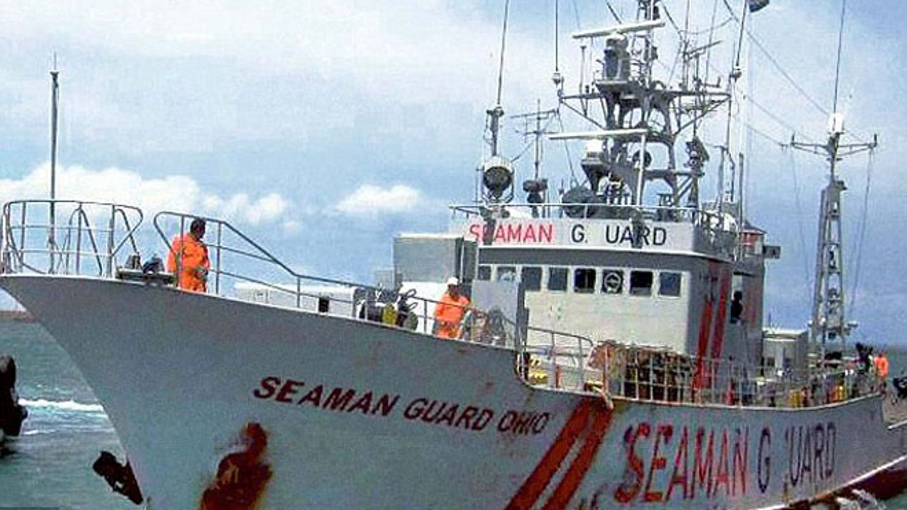 This undated image, provided by AdvanFort, shows the MV Seaman Guard Ohio, a U.S. anti-piracy ship that patrols the waters in high-risk areas.