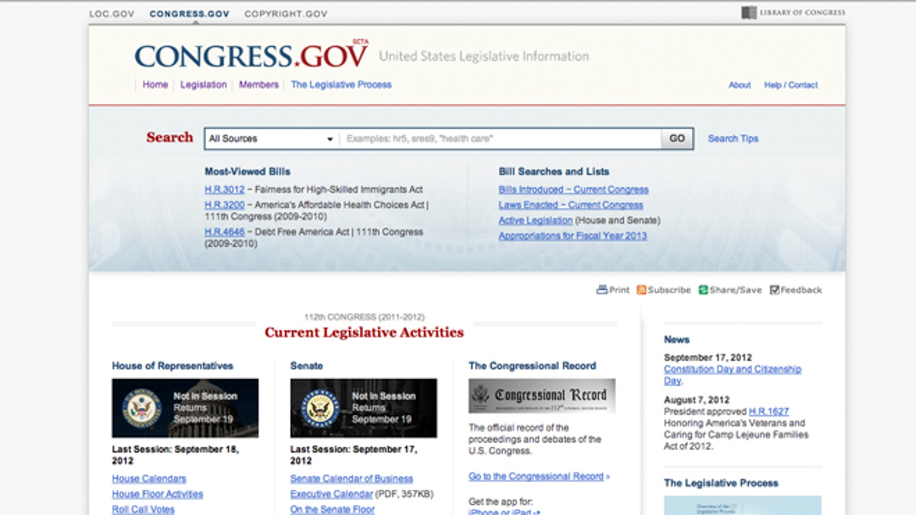 Sept. 19, 2012: The Library of Congress is unveiling the new website Congress.gov in beta form to eventually replace its THOMAS system. Its Congress first new search engine since THOMAS launched in 1995 when the Internet was in its infancy.