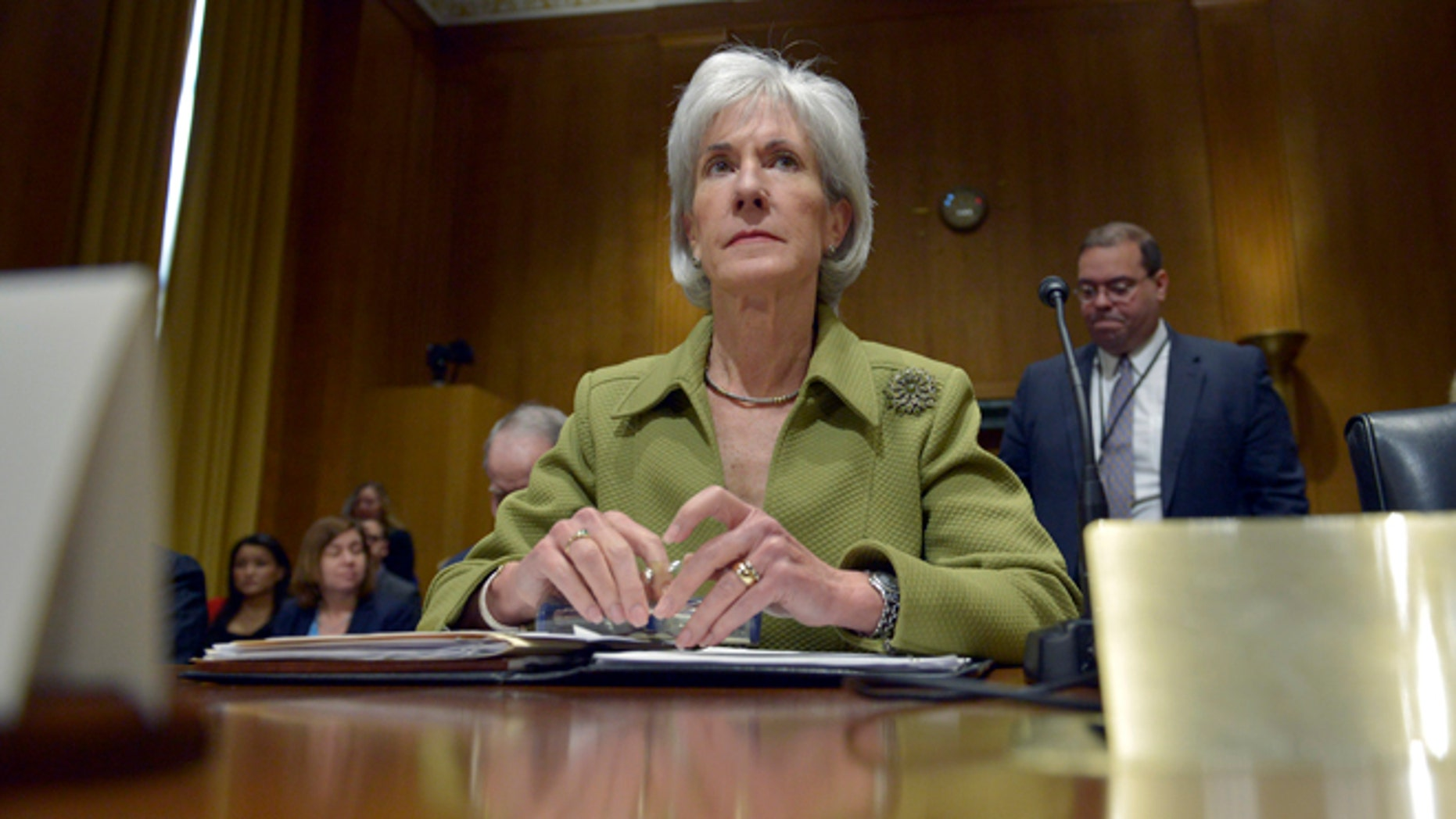 Kathleen Sebelius on Capitol Hill Thursday, April 10, 2014, during a Senate Finance Committee hearing.