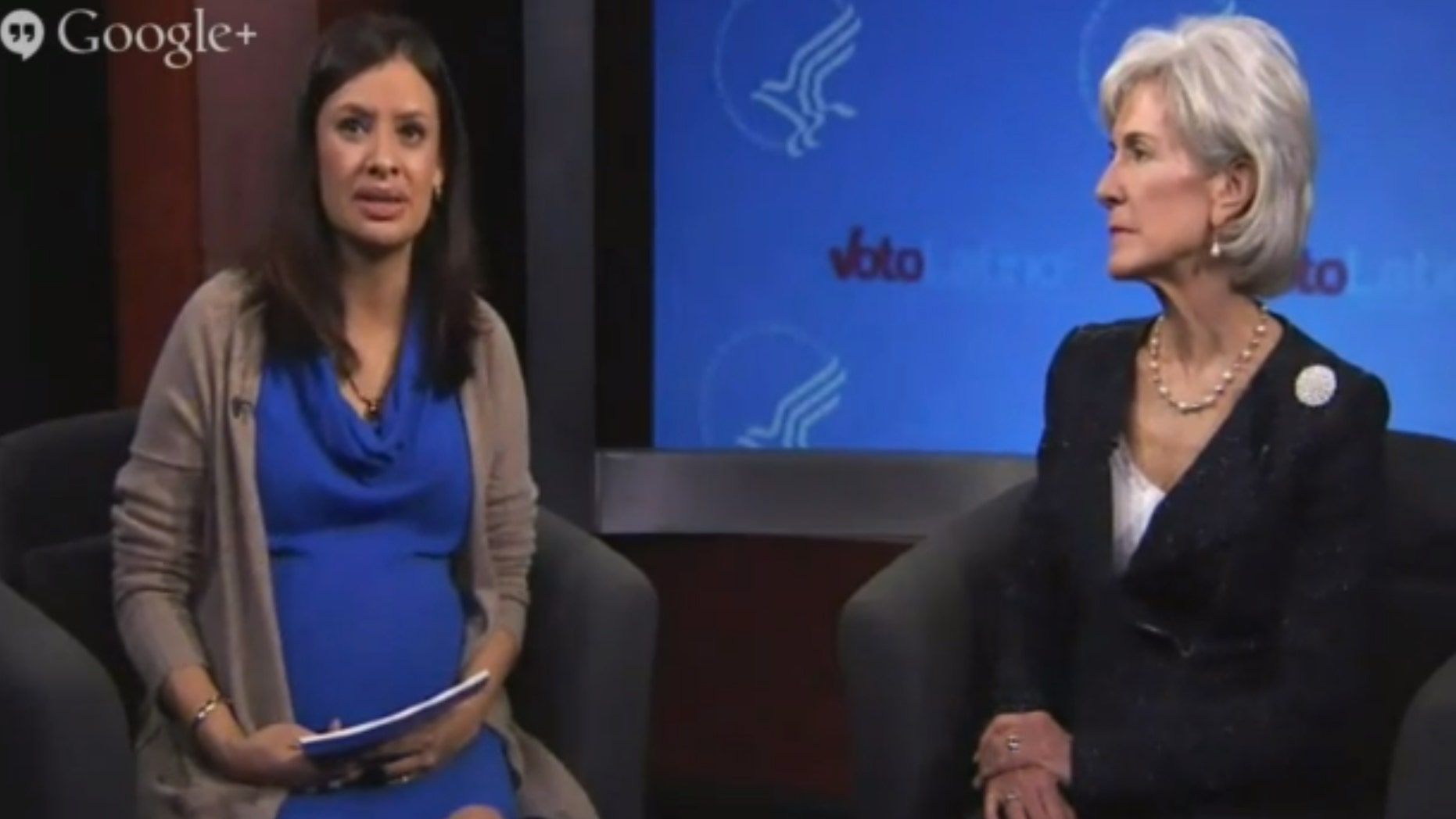 Health and Human Services head Kathleen Sebelius, right, with Voto Latino President and CEO, María Teresa Kumar, during their Thursday afternoon Google Hangout.