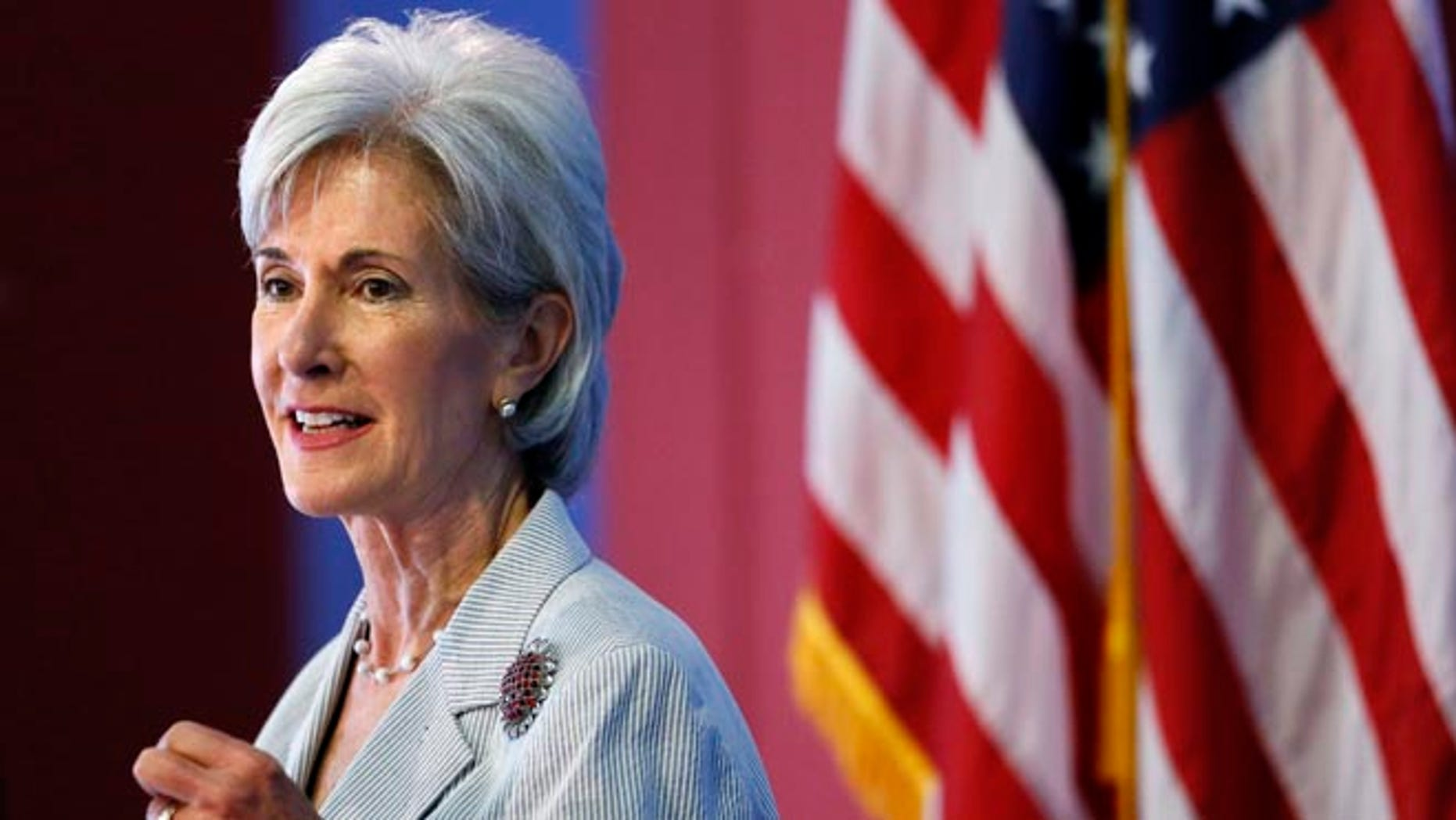 Aug. 22, 2013: In this photo, Health and Human Services Secretary Kathleen Sebelius speaks during an event discussing the federal health care overhaul in Philadelphia.