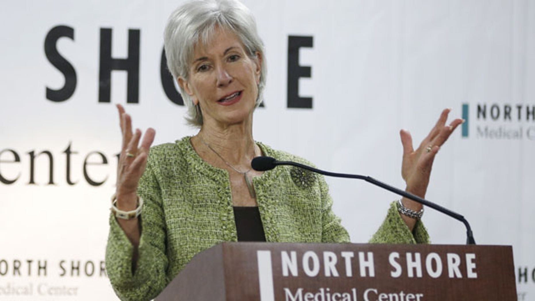 November 19, 2013: Department of Health and Human Services Secretary Kathleen Sebelius responds to questions during a news conference at the North Shore Medical Center in Miami. (AP Photo)