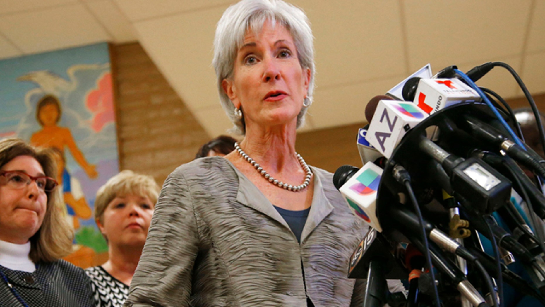 Oct. 24, 2013: Health and Human Services Secretary Kathleen Sebelius answers a question during a news conference after visiting the Wesley Health Center.