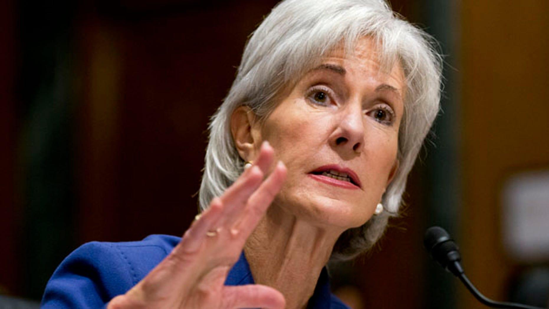 Health and Human Services Secretary Kathleen Sebelius testifies on Capitol Hill in Washington, Wednesday, Nov. 6, 2013