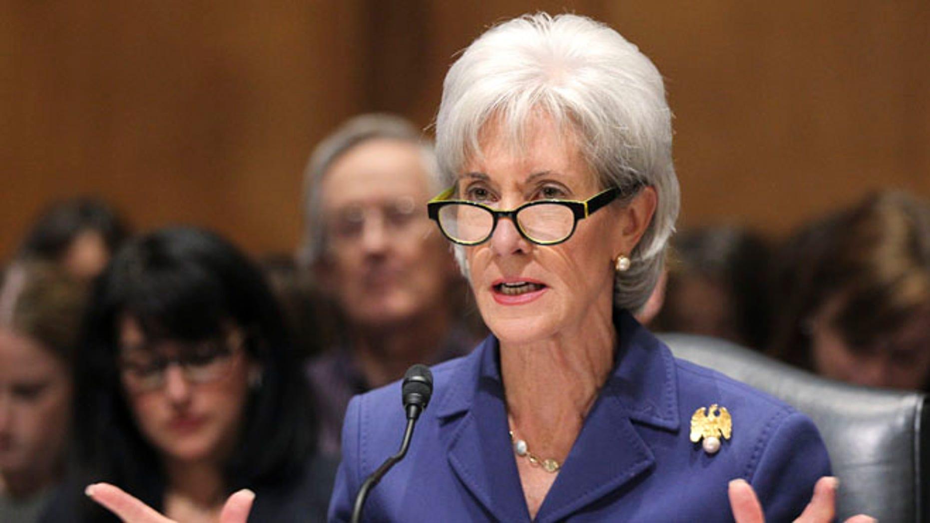 FILE: Nov. 6, 2013: Health and Human Services Secretary Kathleen Sebelius testifies on Capitol Hill.