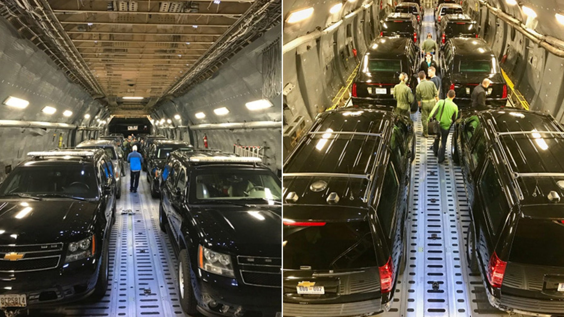 Secret Service shared these two photos of Trump's motorcade on its way to Asia.